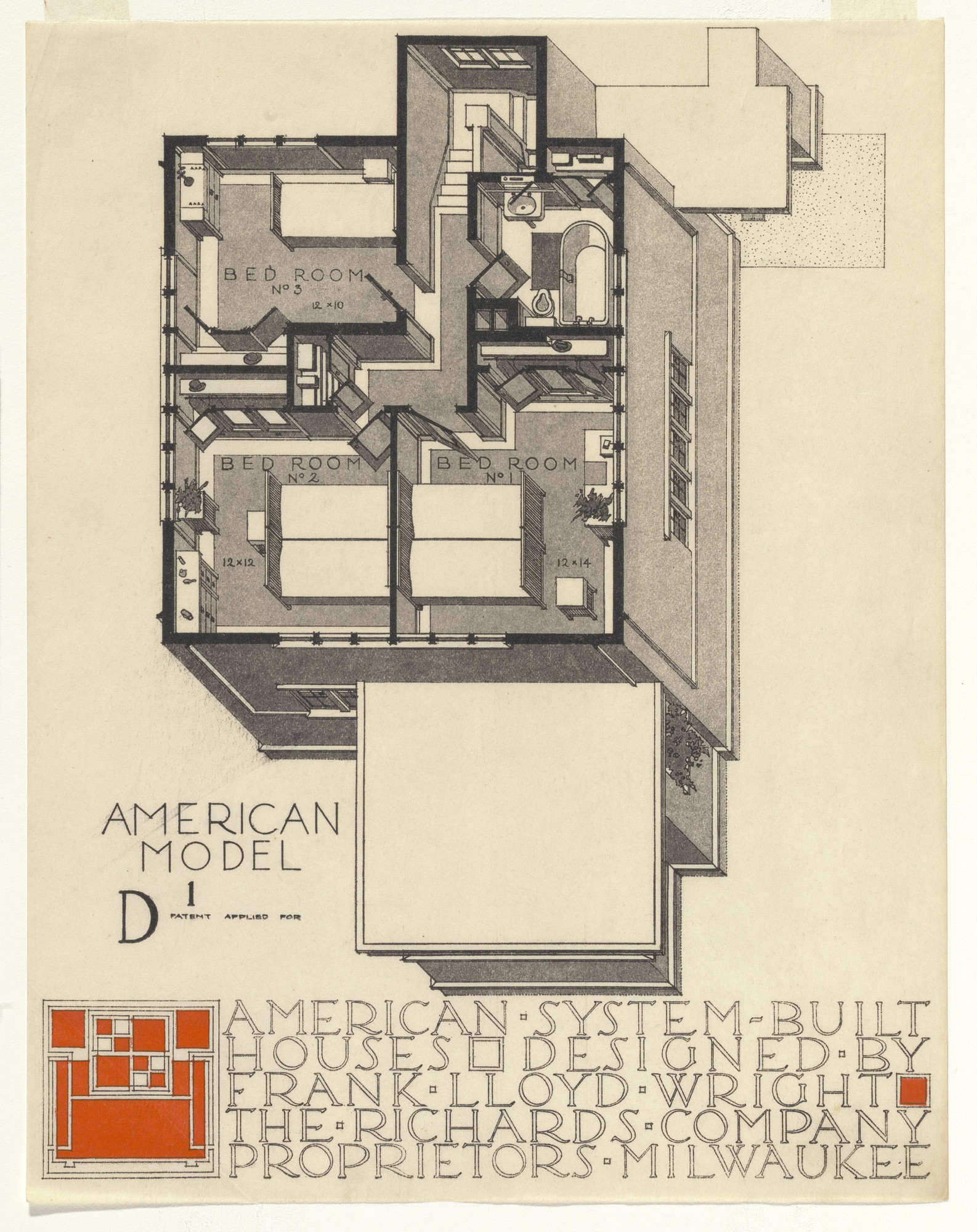Frank Lloyd Wright. American System-Built Houses for The Richards Company project, Milwaukee, Wisconsin (Axonometric). 1915-17