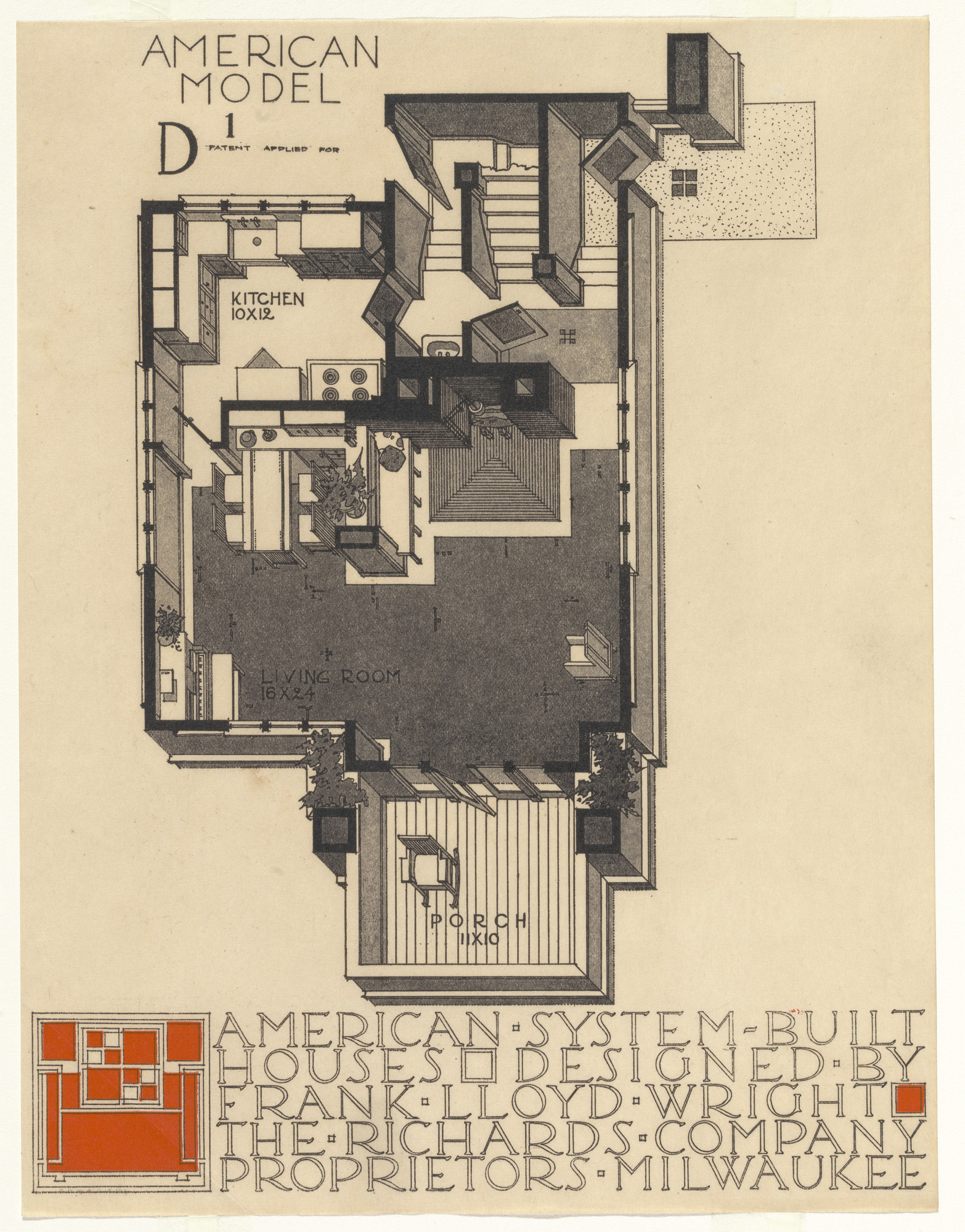 Frank Lloyd Wright. American System-Built Houses for The Richards Company project, Milwaukee, Wisconsin. 1915-17