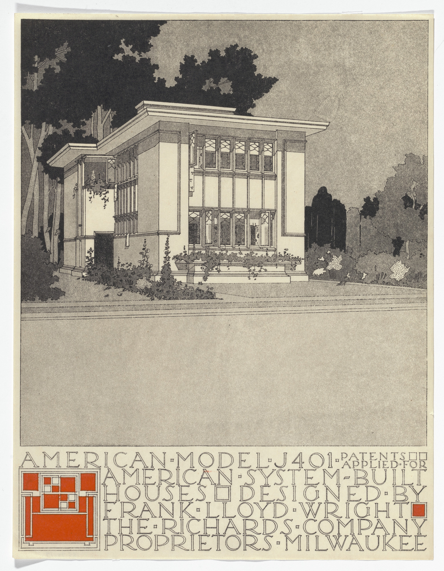Frank Lloyd Wright. American System-Built Houses for The Richards Company project (Exterior perspective of model J401). 1915–1917