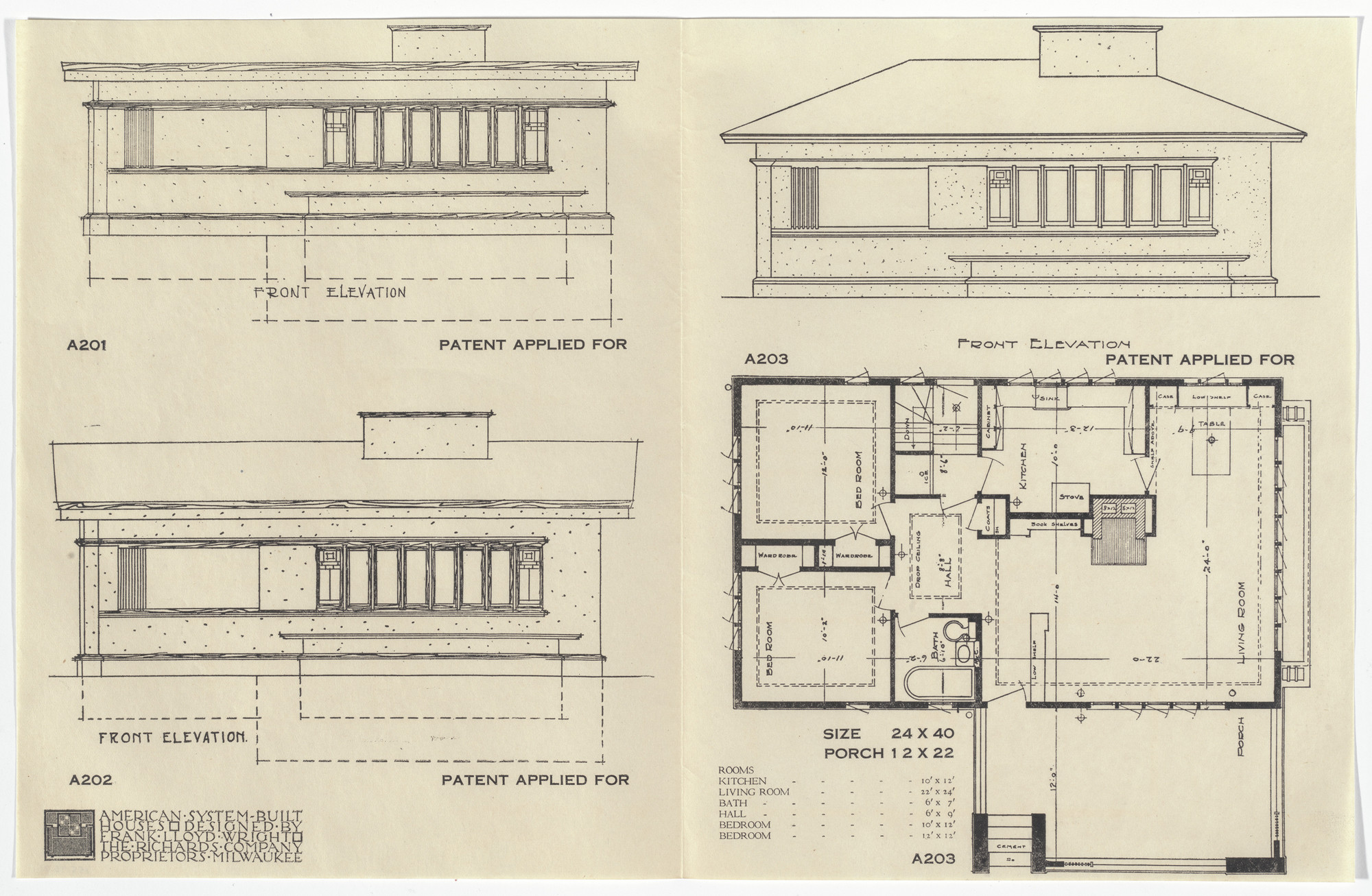 Frank Lloyd Wright. American System-Built Houses for The Richards Company project, Milwaukee, Wisconsin (Plan and elevations). 1915-17