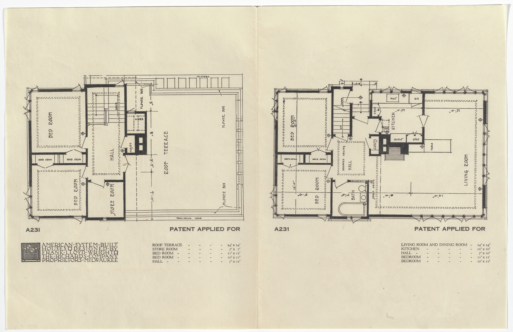 Frank Lloyd Wright. American System-Built Houses for The Richards Company project, Milwaukee, Wisconsin (Plans). 1915-17