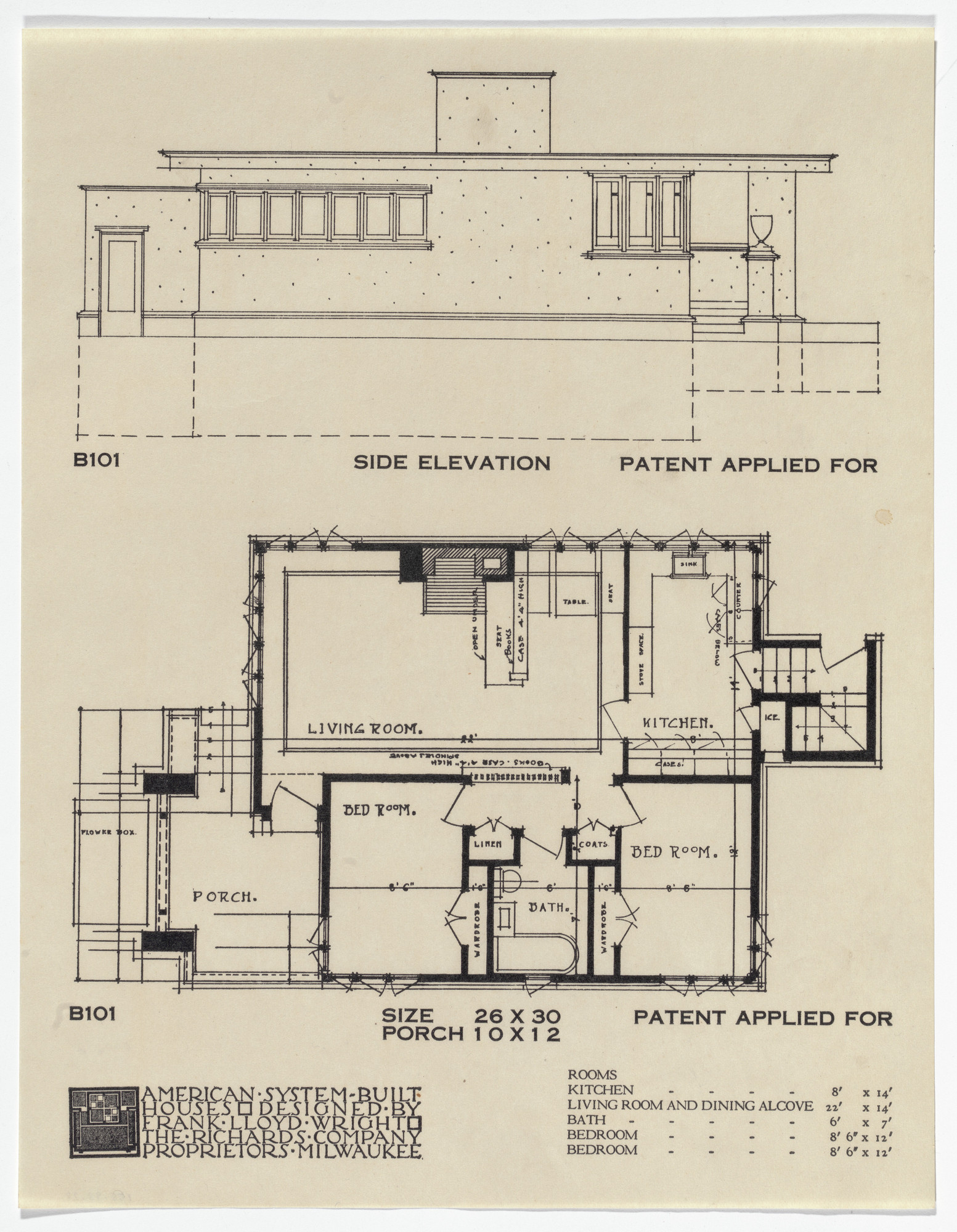 Frank Lloyd Wright. American System-Built Houses for The Richards Company project, Milwaukee, Wisconsin (Plan and elevation). 1915-17