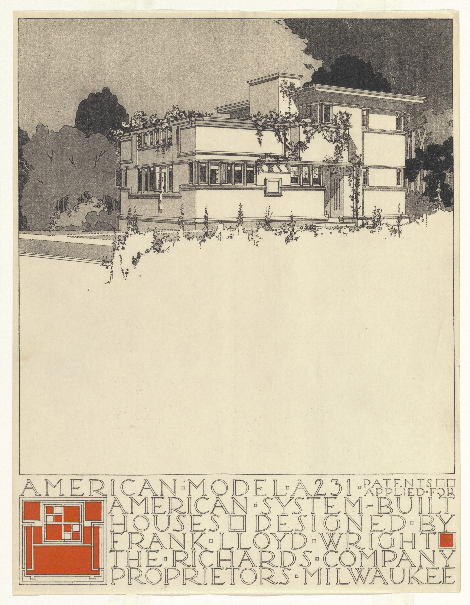 Frank Lloyd Wright. American System-Built Houses for The Richards Company project (Exterior perspective of model A231). 1915–1917