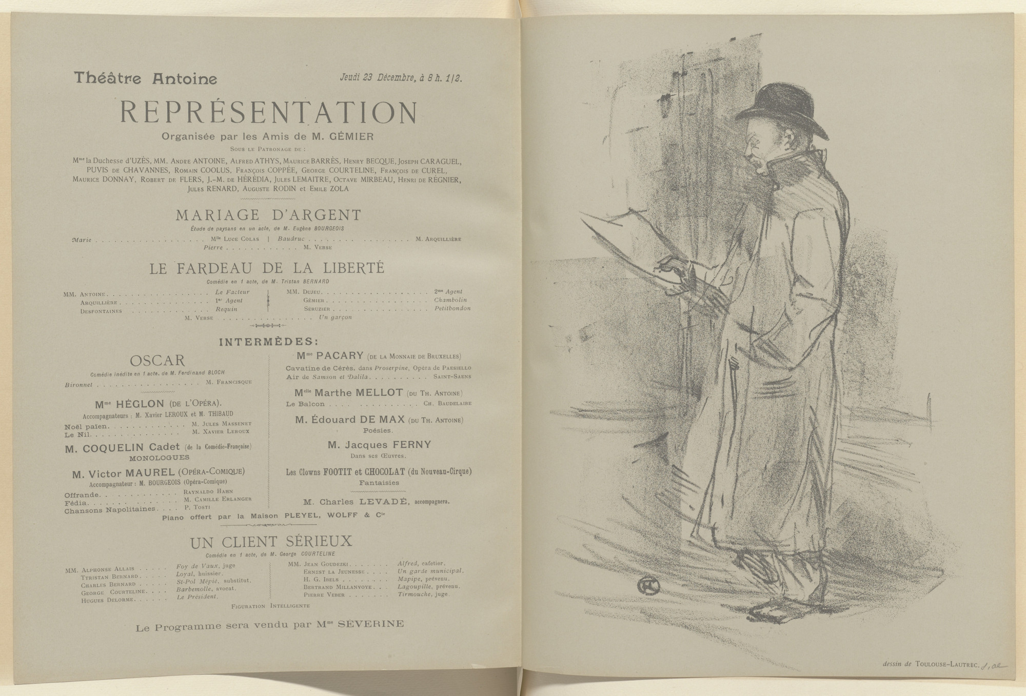 Henri de Toulouse-Lautrec, Louis Anquetin. Firmin Gimiér and Un Satyre program for Mariage d'argent, and Le Fardeau de la liberté and Un Client sérieux de G. Coureline from The Beraldi Album of Theatre Programs. 1897