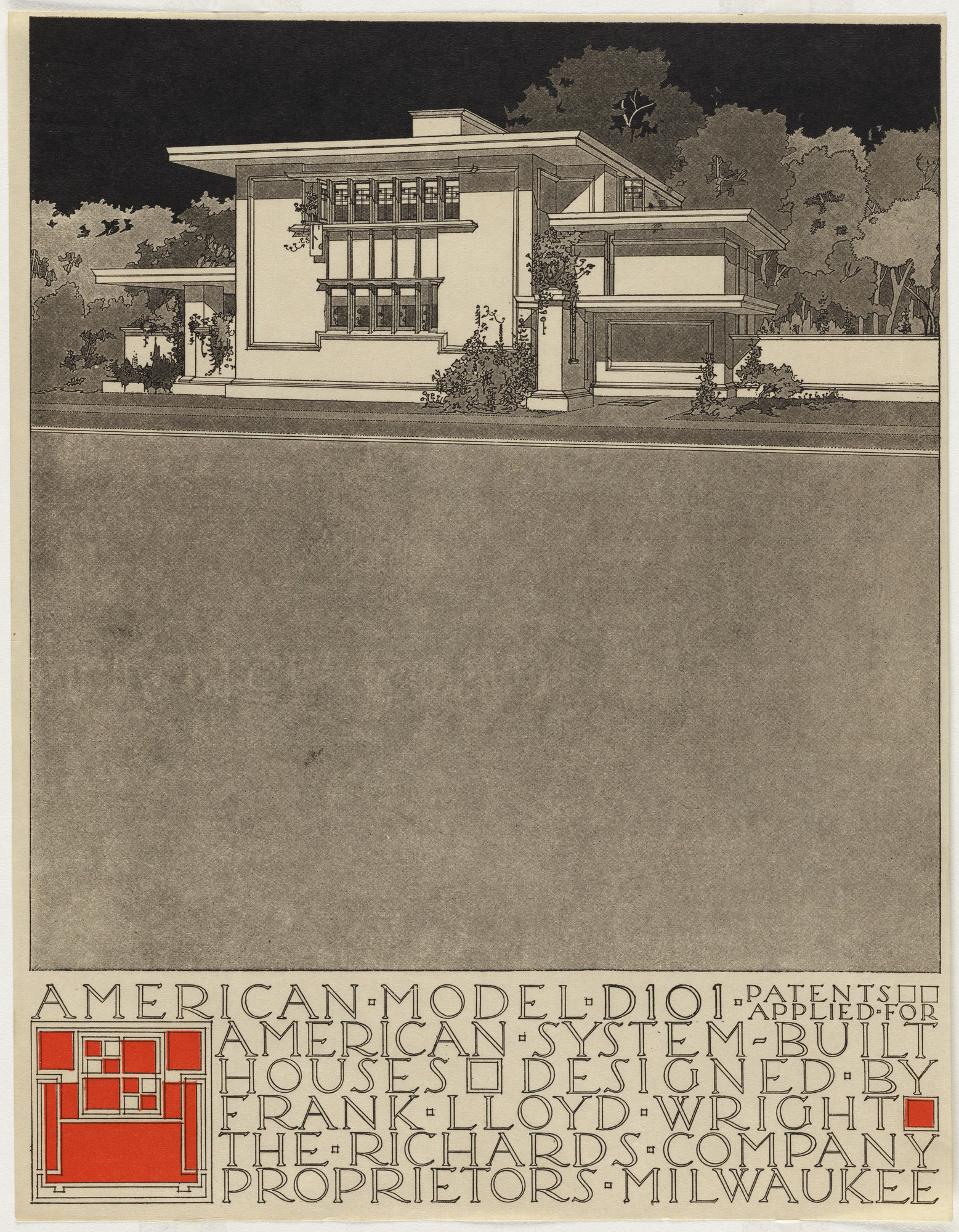 Frank Lloyd Wright. American System-Built Houses for The Richards Company project (Exterior perspective of model D101). 1915–1917