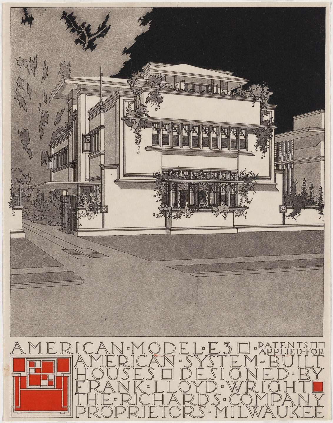 Frank Lloyd Wright. American System-Built Houses for The Richards Company project (Exterior perspective of model E3). 1915–1917