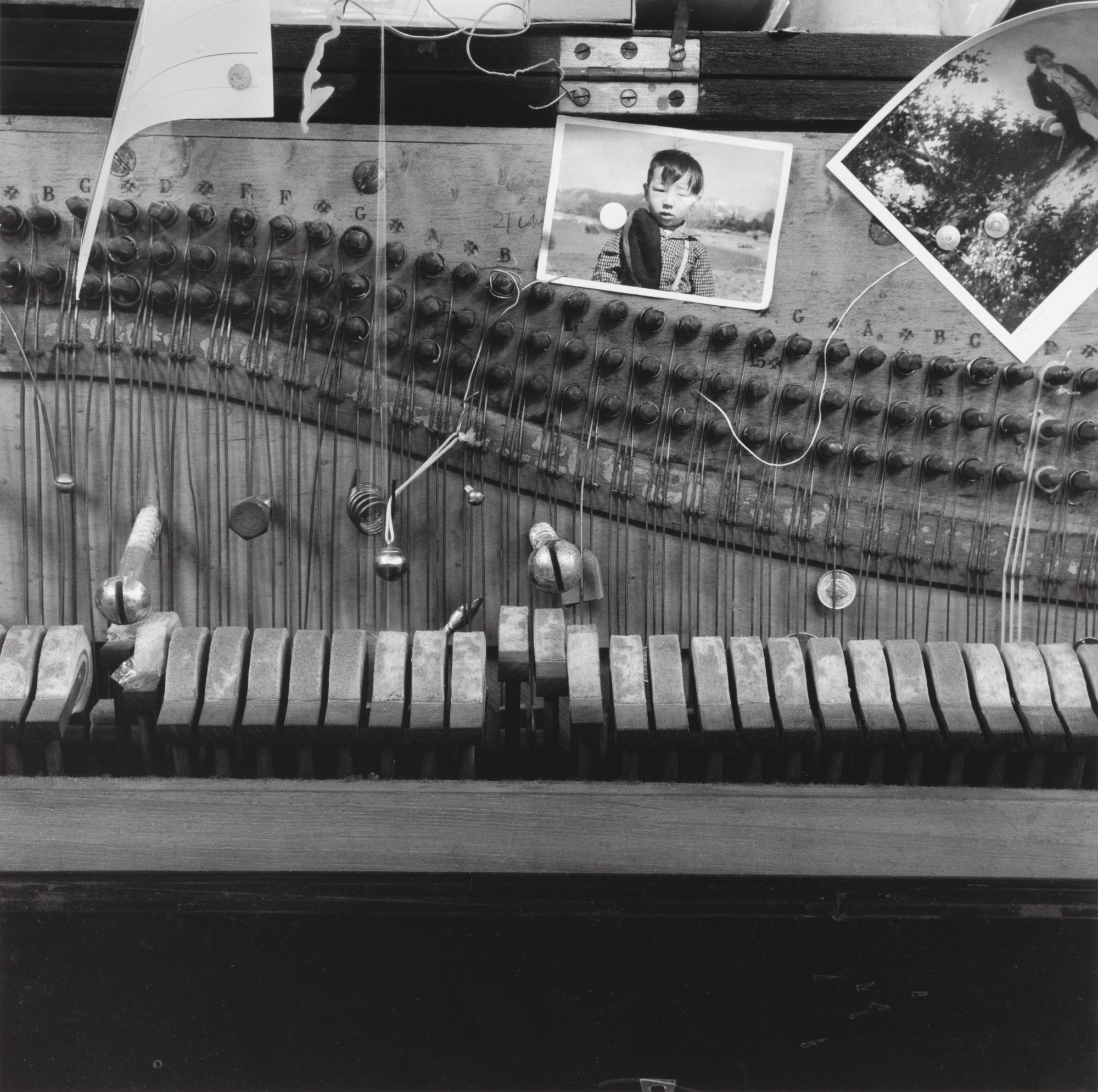 Nam June Paik. Nam June Paik's prepared piano at his Exposition of Music – Electronic Television, Galerie Parnass, Wuppertal, March 11-20, 1963. 1963