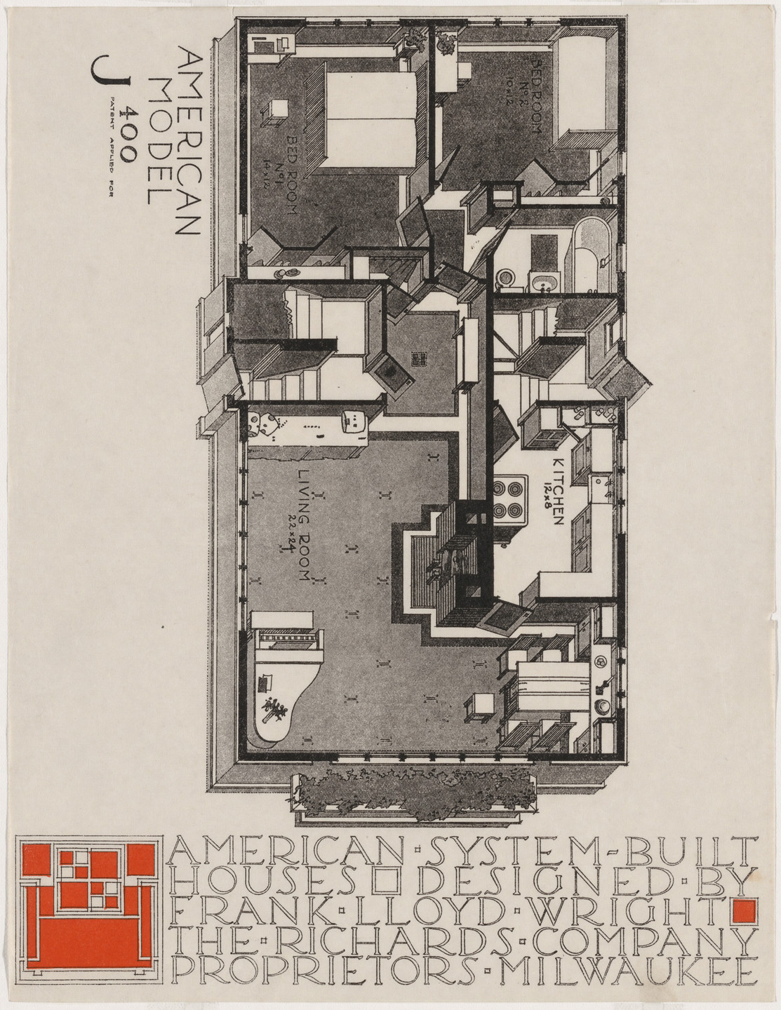 Frank Lloyd Wright. American System-Built Houses for The Richards Company, project, Milwaukee, Wisconsin, Isometric plan of model J400. c. 1915-17