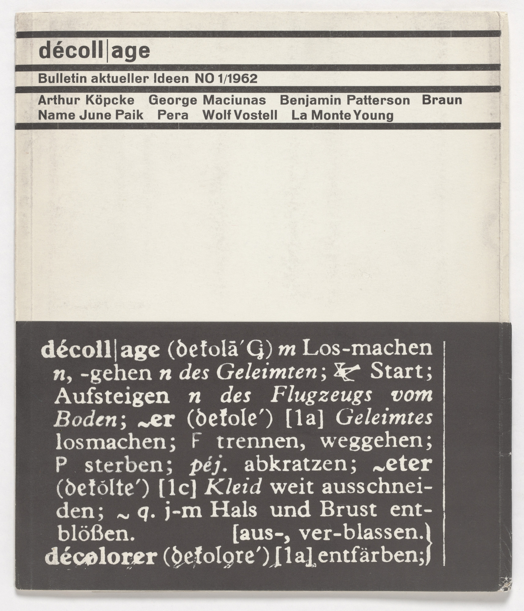 Various Artists, Arthur Köpcke, George Maciunas, Benjamin Patterson, Nam June Paik, Wolf Vostell, La Monte Young. dé-coll/age, no. 1. 1962