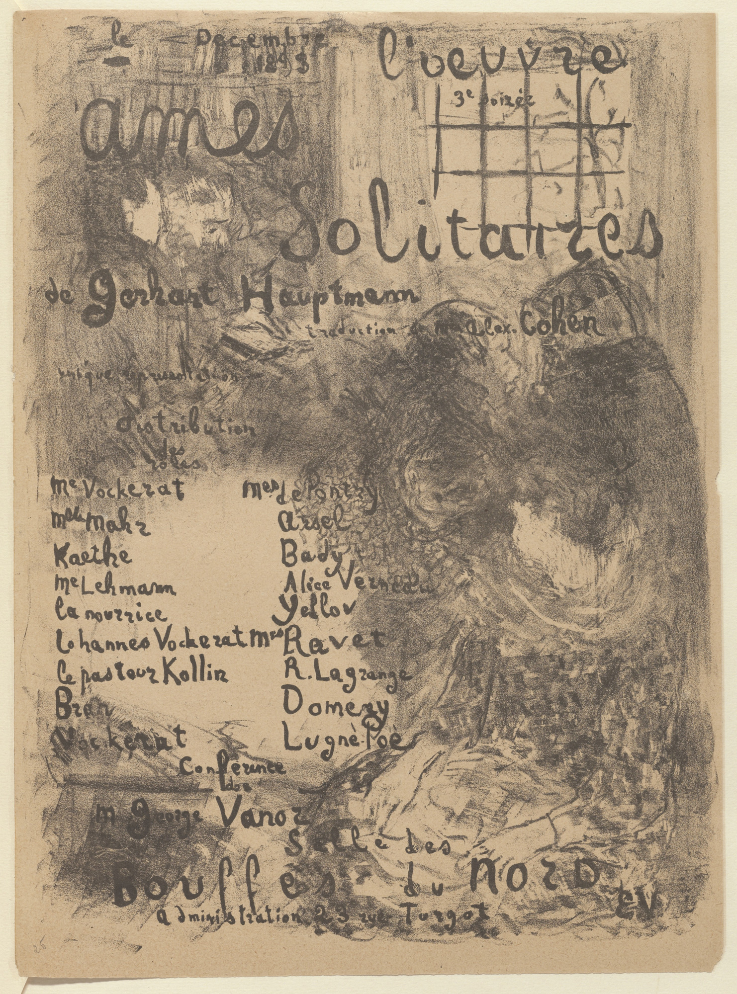 Édouard Vuillard. Program for Lonely Soles (Âmes solitaires) from The Beraldi Album of Theatre Programs. 1893