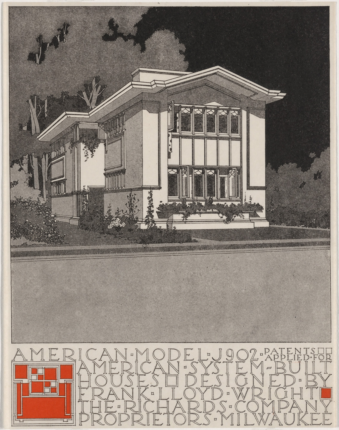 Frank Lloyd Wright. American System-Built Houses for The Richards Company, project, Milwaukee, Wisconsin, Perpsective of model J902. c. 1915-17