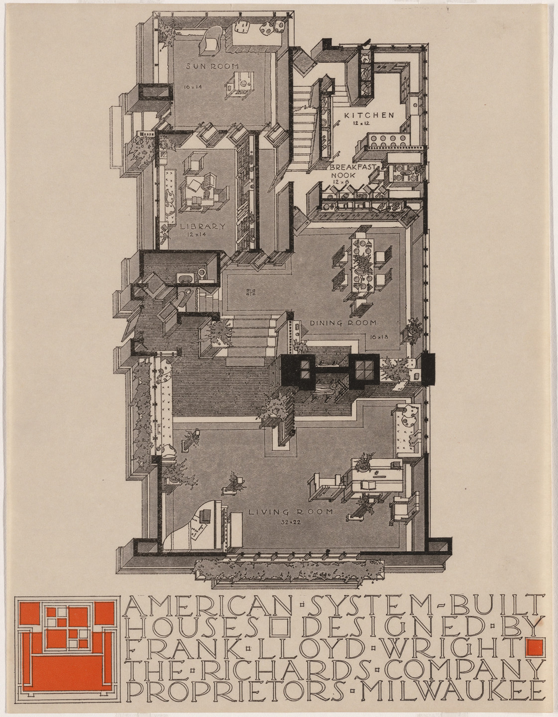 Frank Lloyd Wright. American System-Built Houses for The Richards Company project, (Plan oblique of unspecified model). 1915–1917
