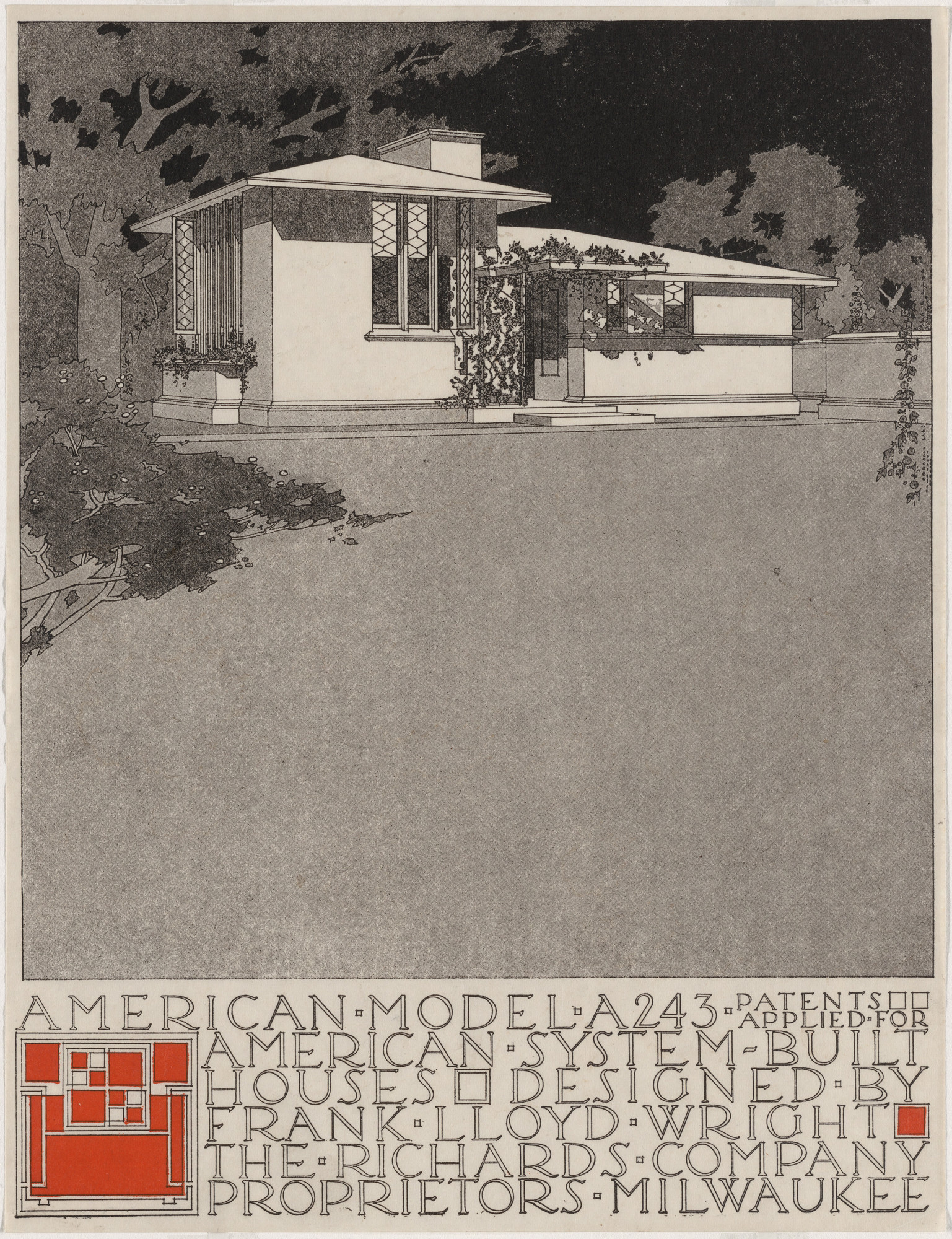 Frank Lloyd Wright. American System-Built Houses for The Richards Company, project, Milwaukee, Wisconsin, Perspective of model A243. c. 1915-17
