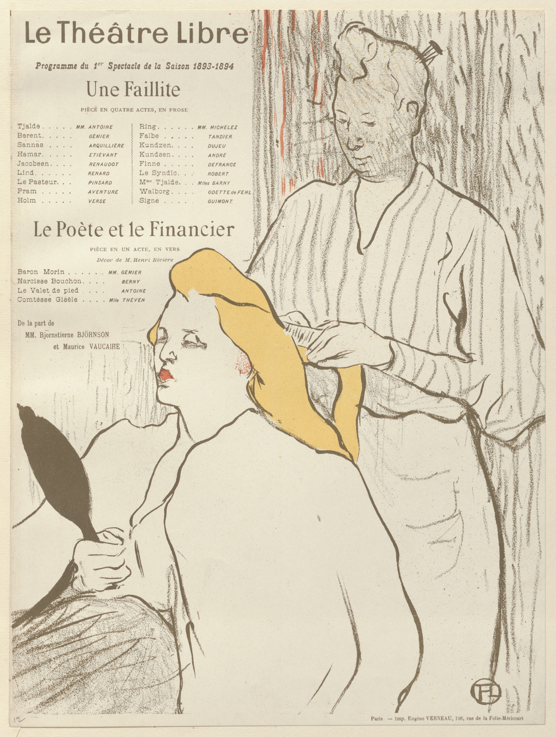 Henri de Toulouse-Lautrec. The Hairdresser (La coiffure), program for Bankruptcy (Une Faillite) and The poet and the financier (Le Poète et le financier) from The Beraldi Album of Theatre Programs. 1893