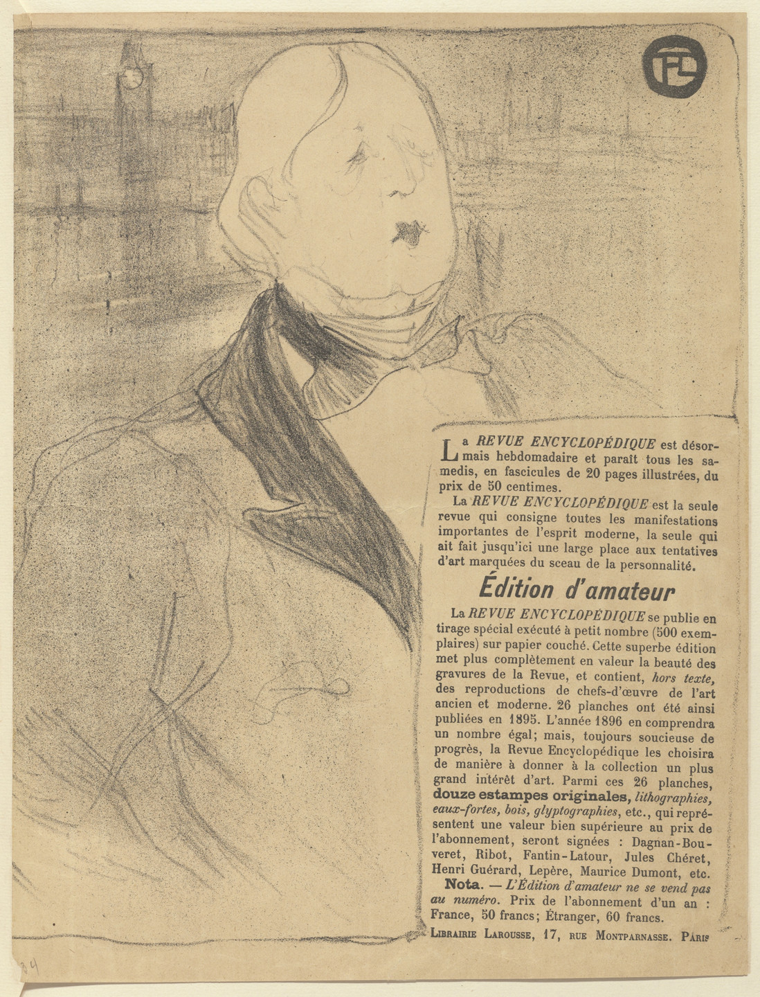 Henri de Toulouse-Lautrec. Oscar Wilde, program for Rafaël and Salomé from The Beraldi Album of Theatre Programs. 1896
