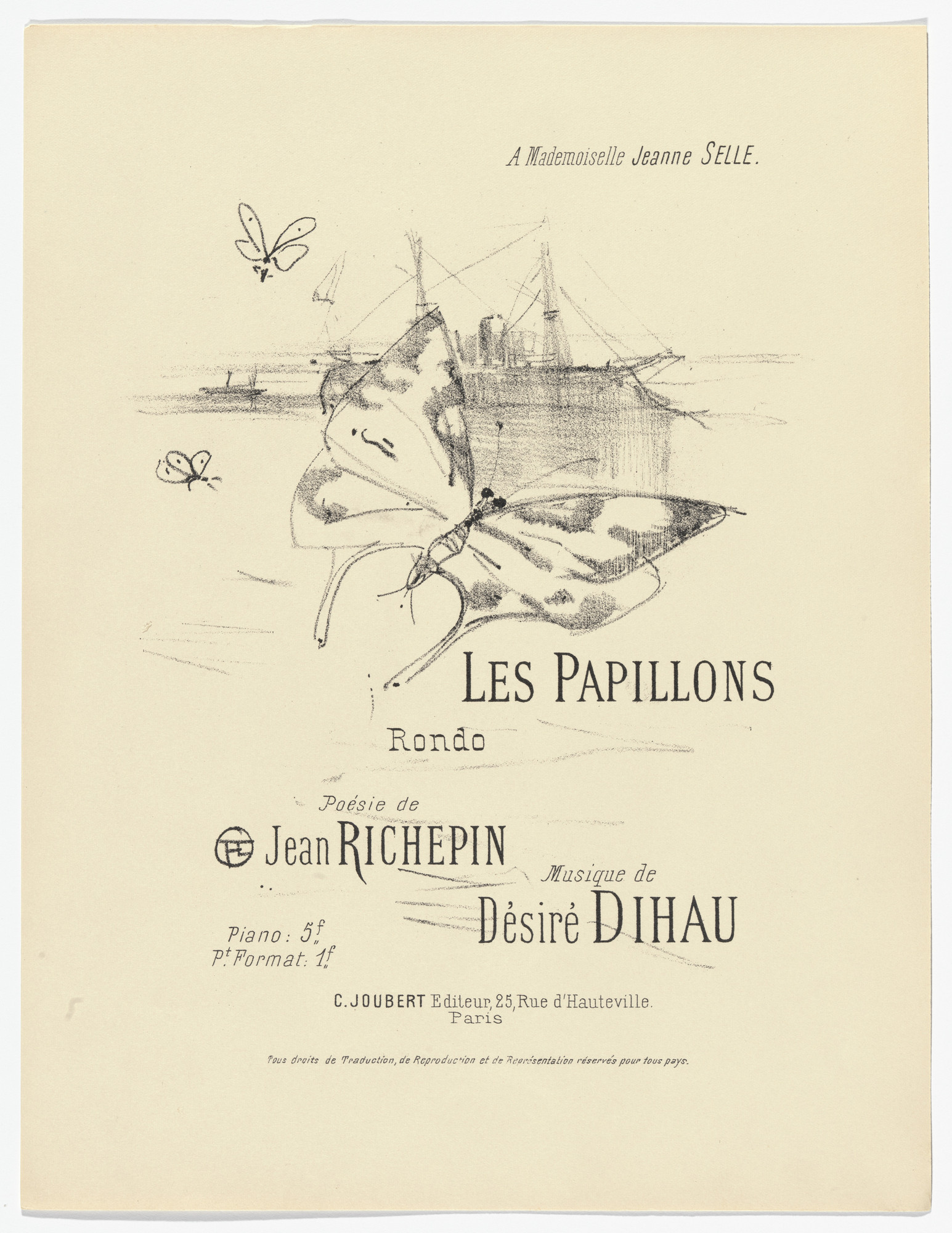 Henri de Toulouse-Lautrec. The Butterflies (Les papillons) from Quatorze lithographies originales (Mélodies de Désiré Dihau). 1895, published 1935