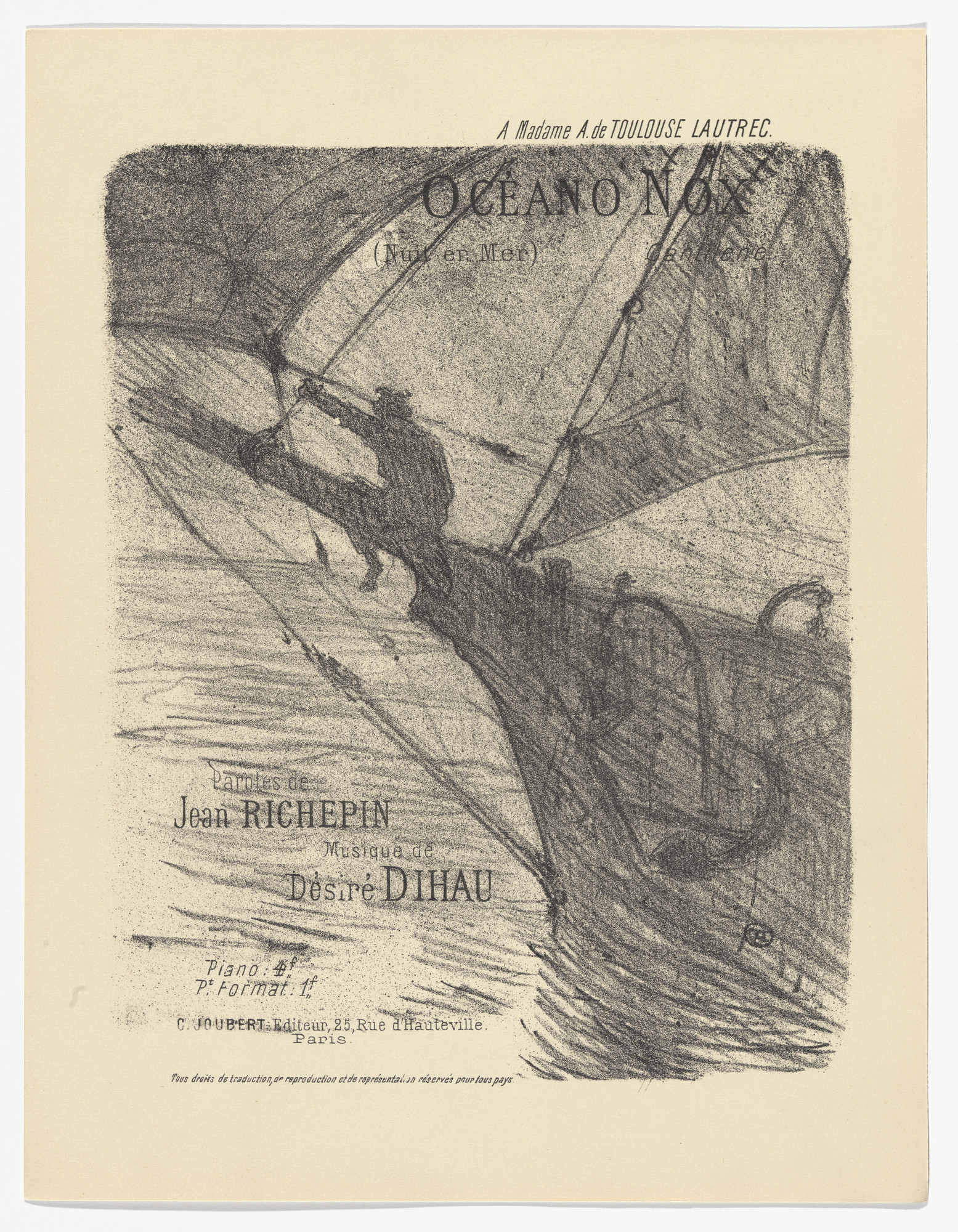 Henri de Toulouse-Lautrec. Night at Sea (Oceano nox) from Quatorze lithographies originales (Mélodies de Désiré Dihau). 1895, published 1935