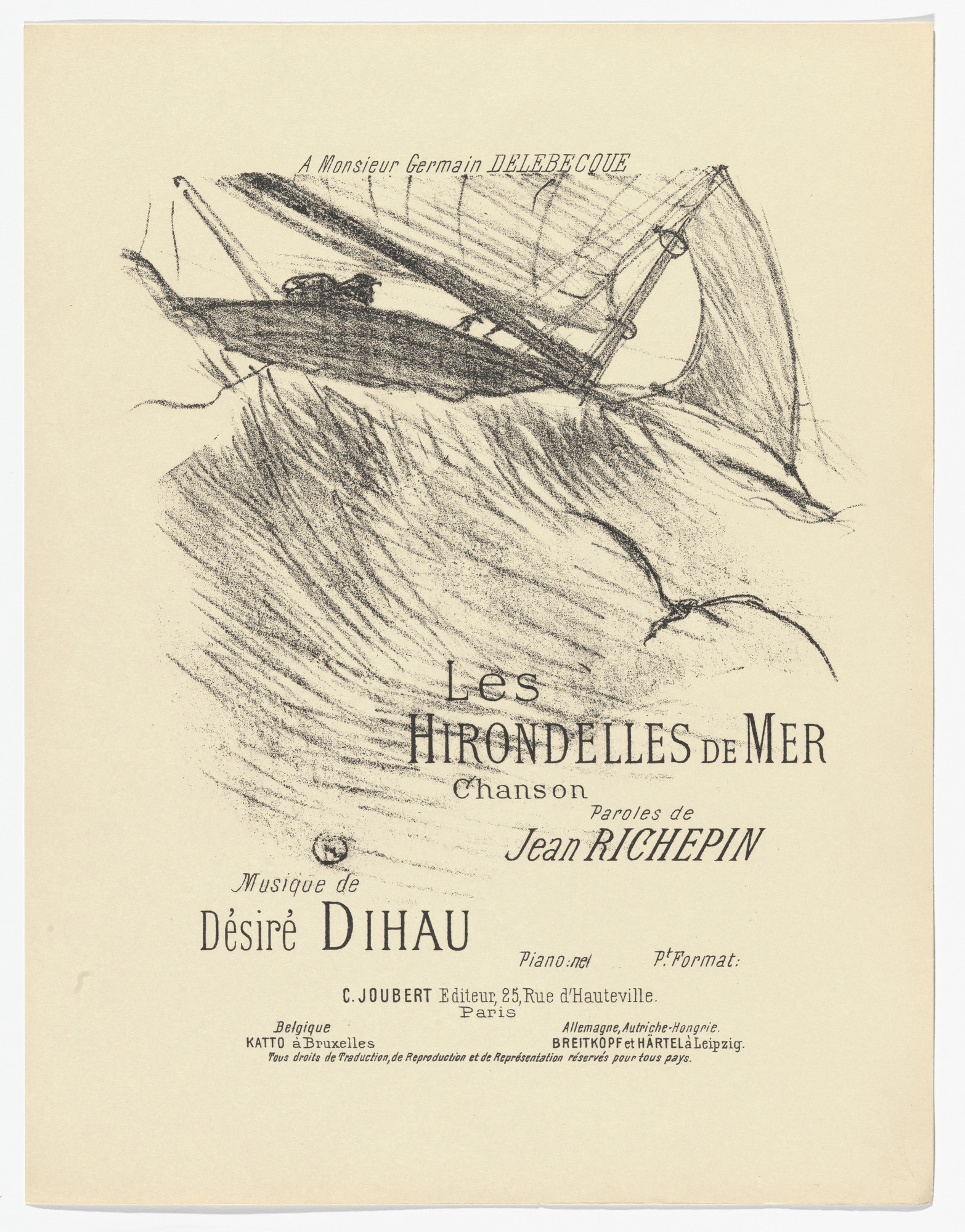 Henri de Toulouse-Lautrec. The Sea Swallows (Les hirondelles de mer) from- Quatorze lithographies originales (Mélodies de Désiré Dihau). 1895, published 1935