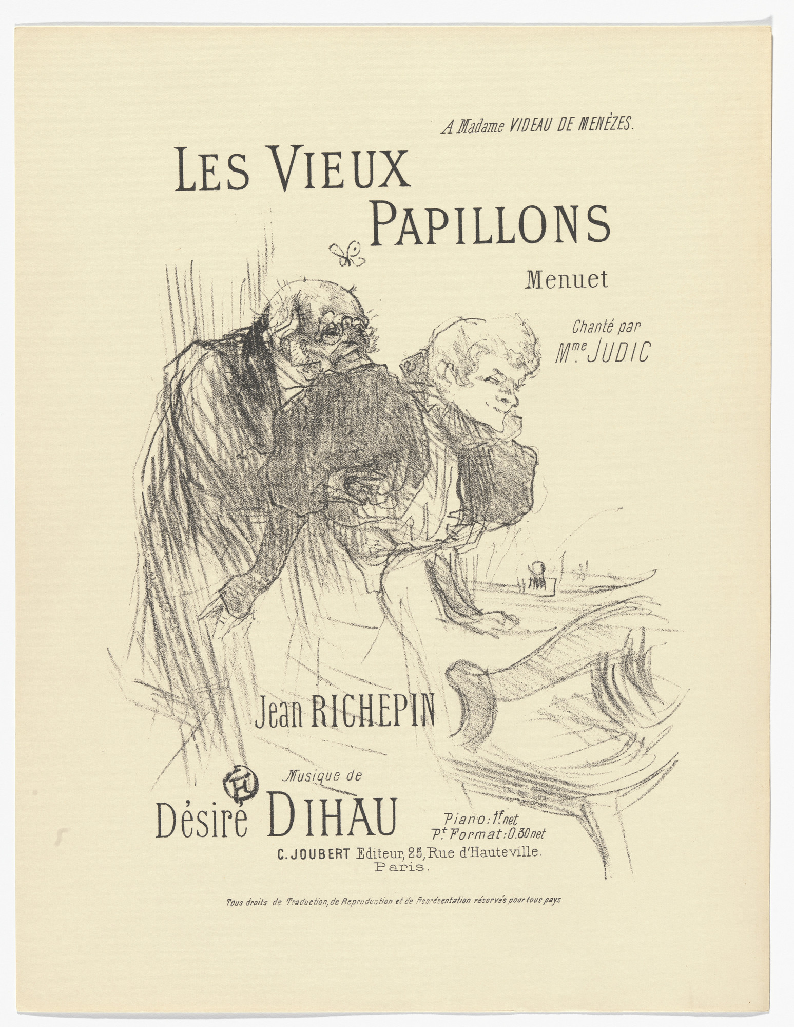 Henri de Toulouse-Lautrec. The Old Butterflies (Les vieux papillons) from Quatorze lithographies originales (Mélodies de Désiré Dihau). 1895, published 1935