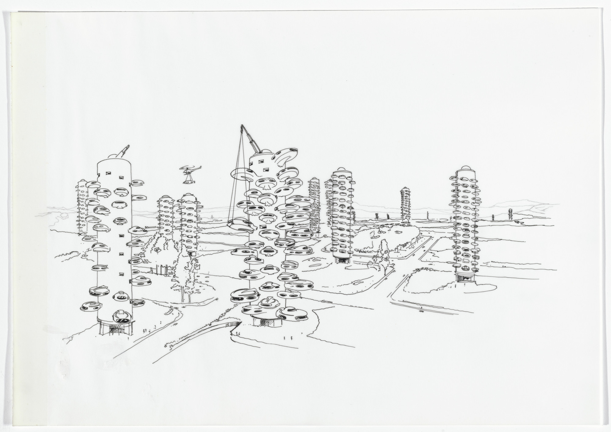 Daniel Grataloup. Urban Proposal with Multi Thin-Shell Capsules, project (Aerial perspective). 1970