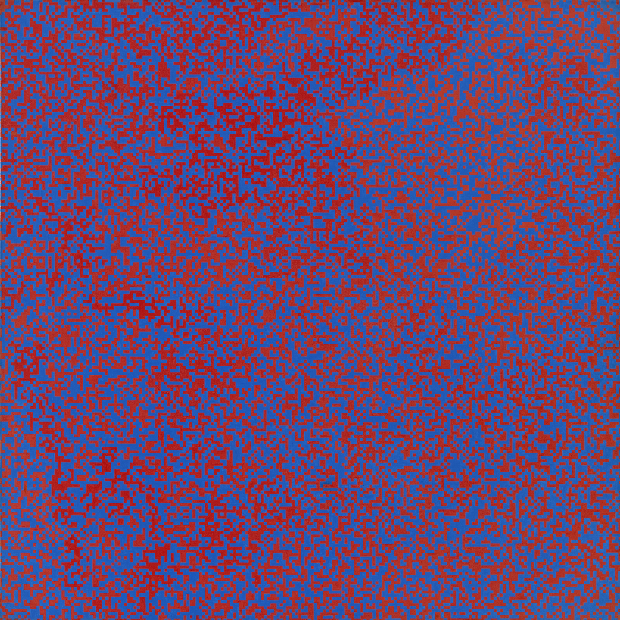 François Morellet. Random Distribution of 40,000 Squares Using the Odd and Even Numbers of a Telephone Directory, 50% Blue, 50% Red. 1960