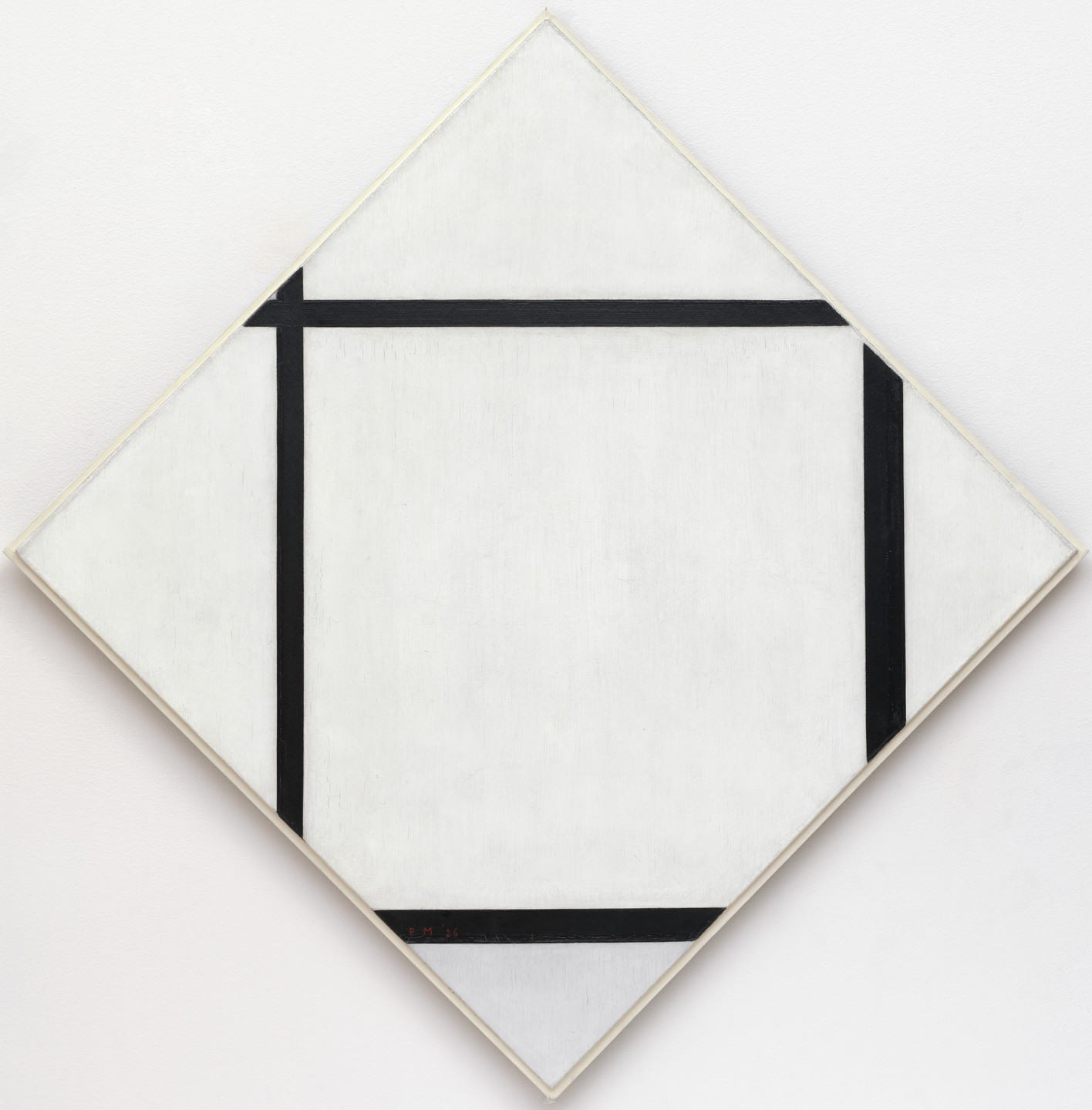 Piet Mondrian. Tableau I: Lozenge with Four Lines and Gray. 1926