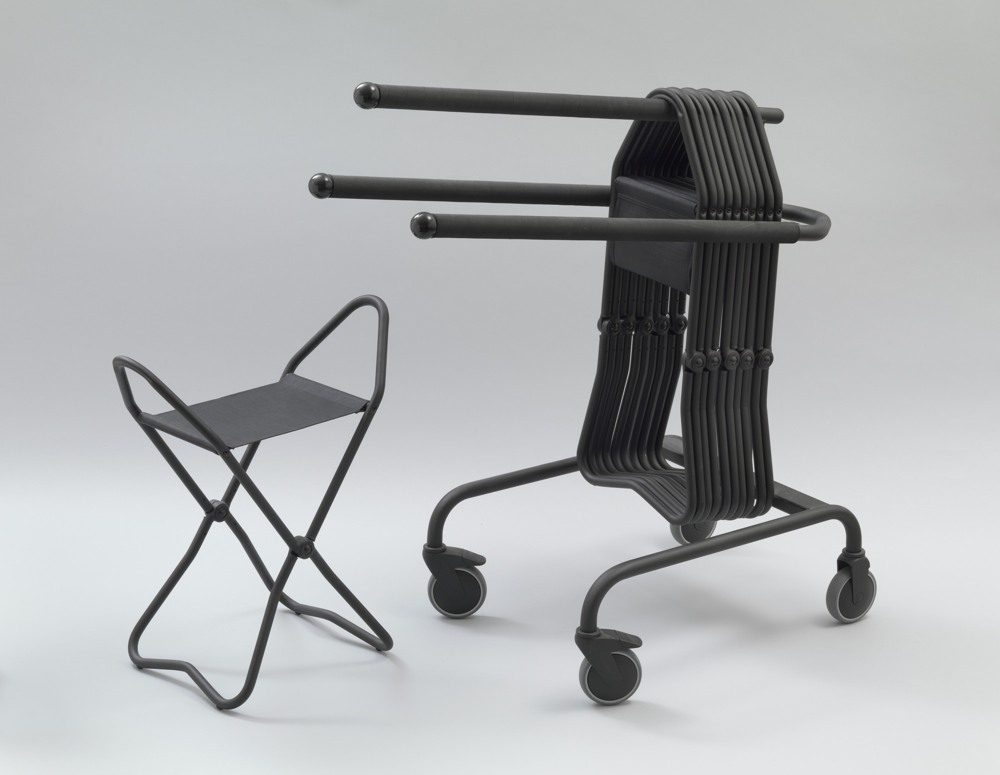 A&E Design, Hans Ehrich, Tom Ahlström. Stockholm II Folding Stool and Stockholm II Trolley. 1993-1994