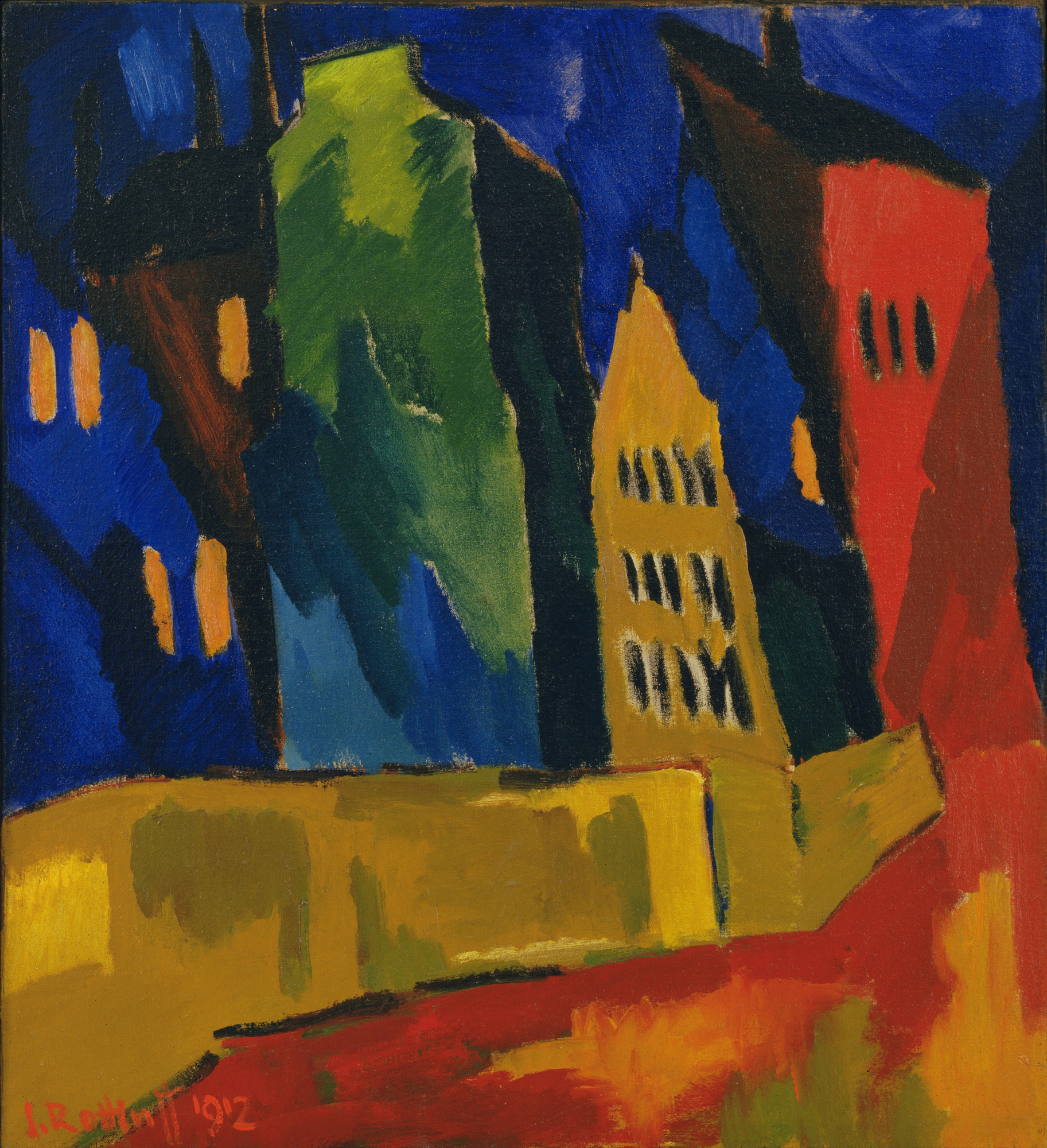 Karl Schmidt-Rottluff. Houses at Night. 1912
