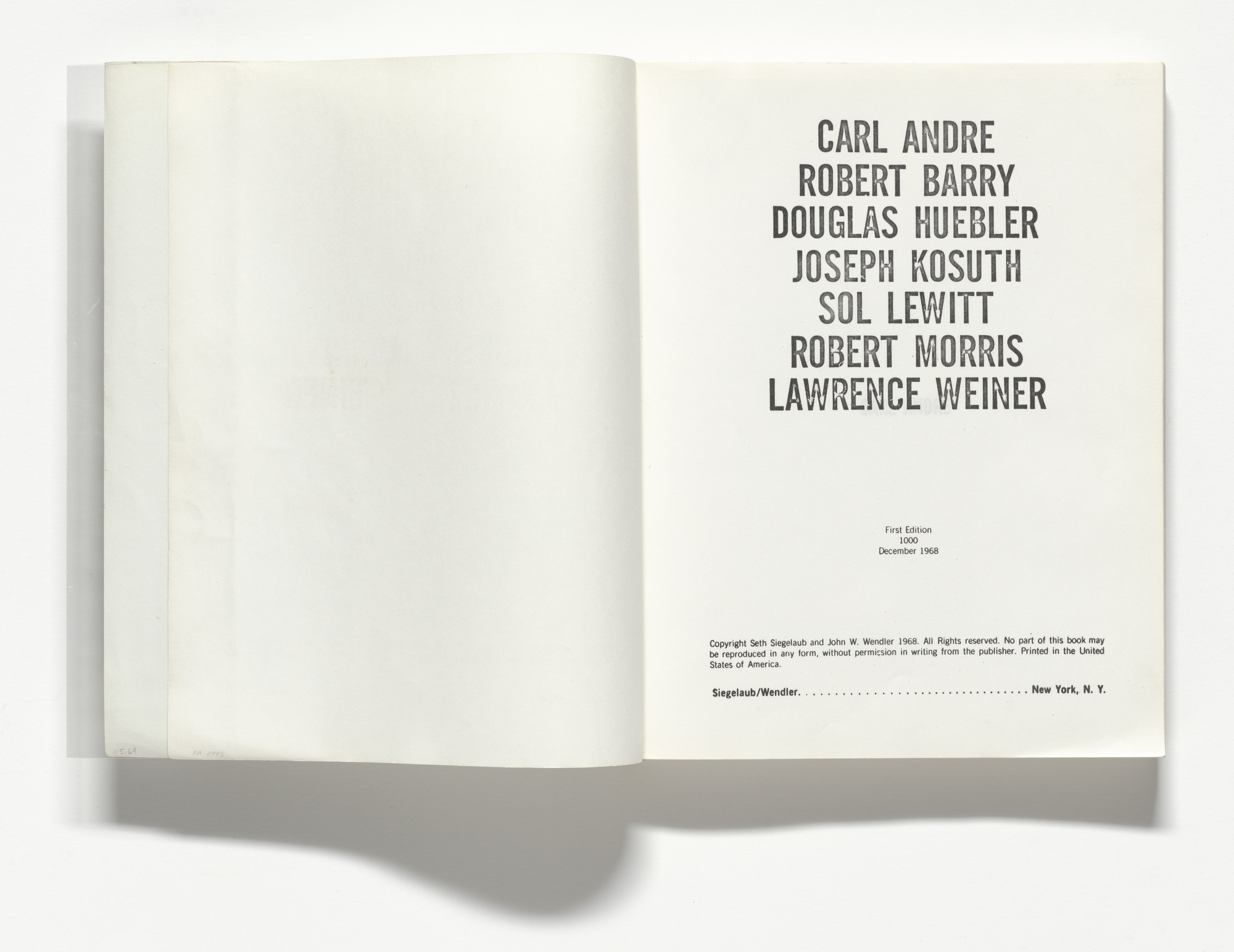 Various Artists, Lawrence Weiner, Robert Morris, Joseph Kosuth, Douglas Huebler, Robert Barry, Sol LeWitt, Carl Andre. Untitled (Xerox Book). 1968