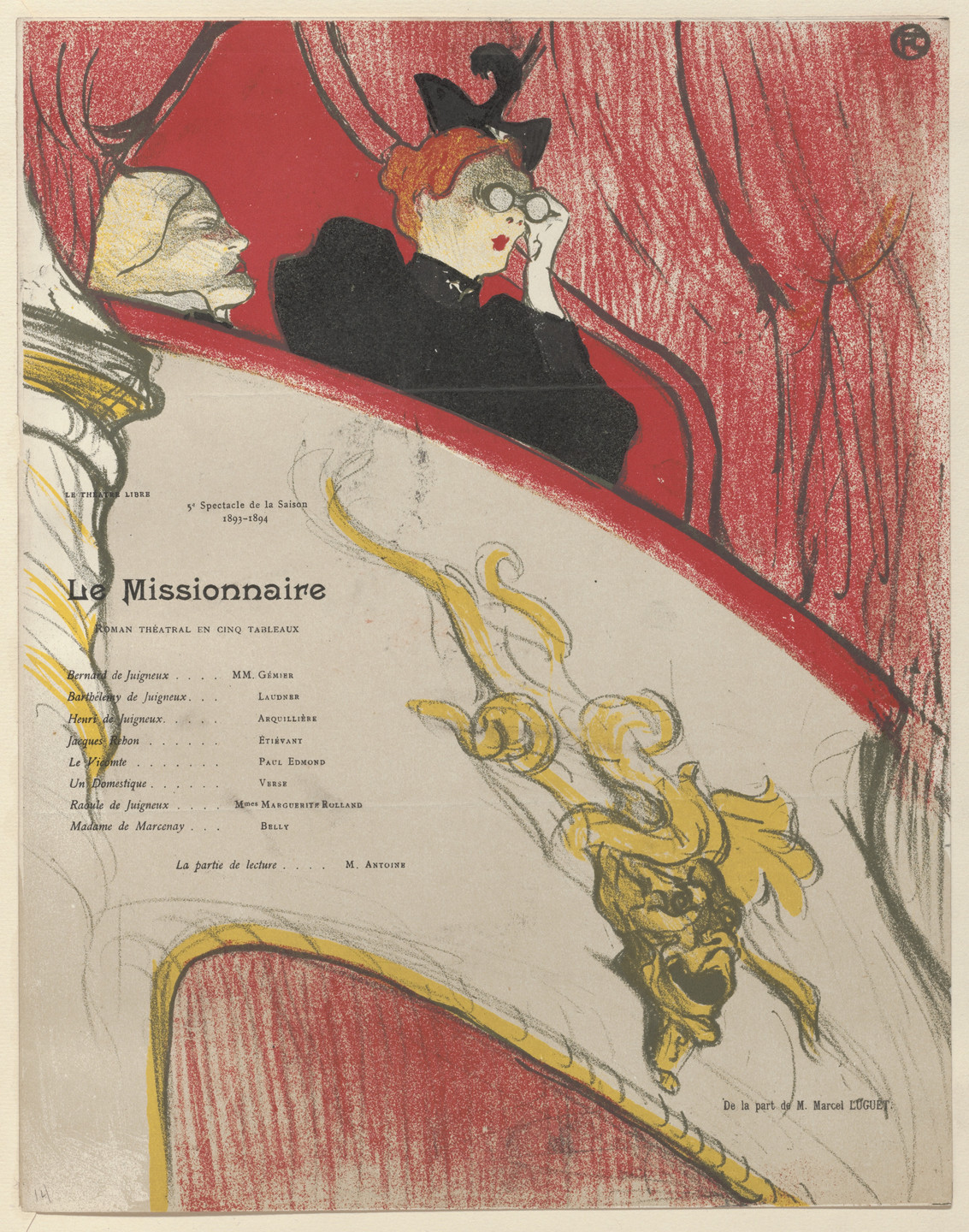 Henri de Toulouse-Lautrec. The Box with the Gilded Mask (La Loge au mascaron doré), program for The Missionary (Le Missionnaire) from The Beraldi Album of Theatre Programs. 1894