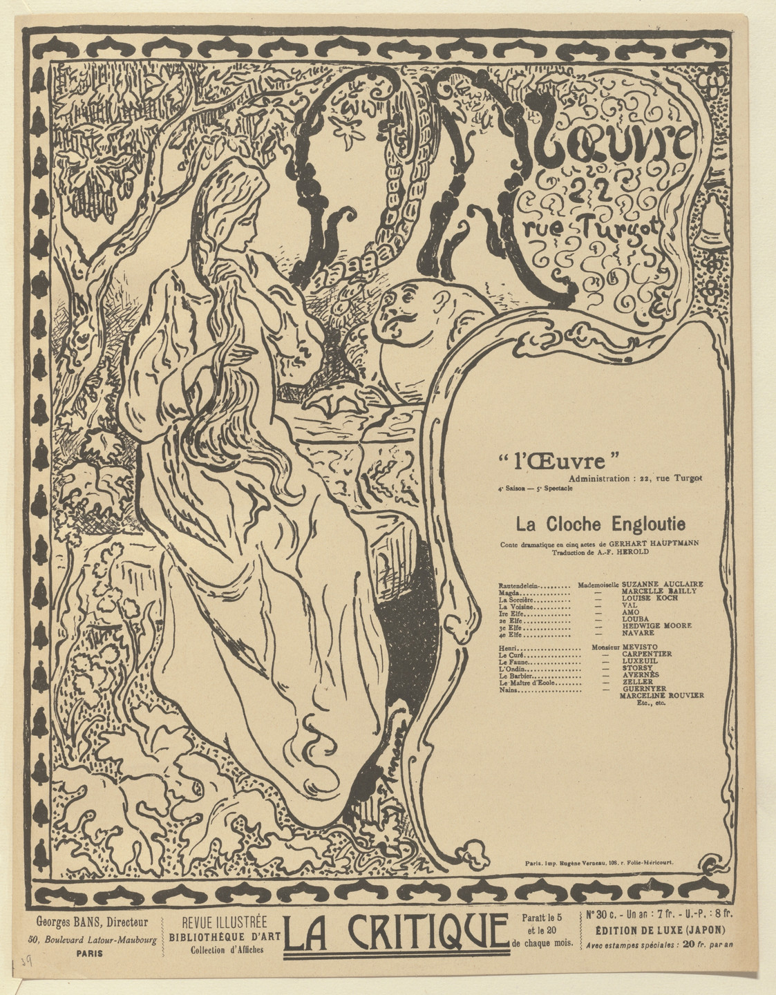 Paul Ranson. Program for The Sunken Bell (La Cloche engloutie) from The Beraldi Album of Theatre Programs. 1897