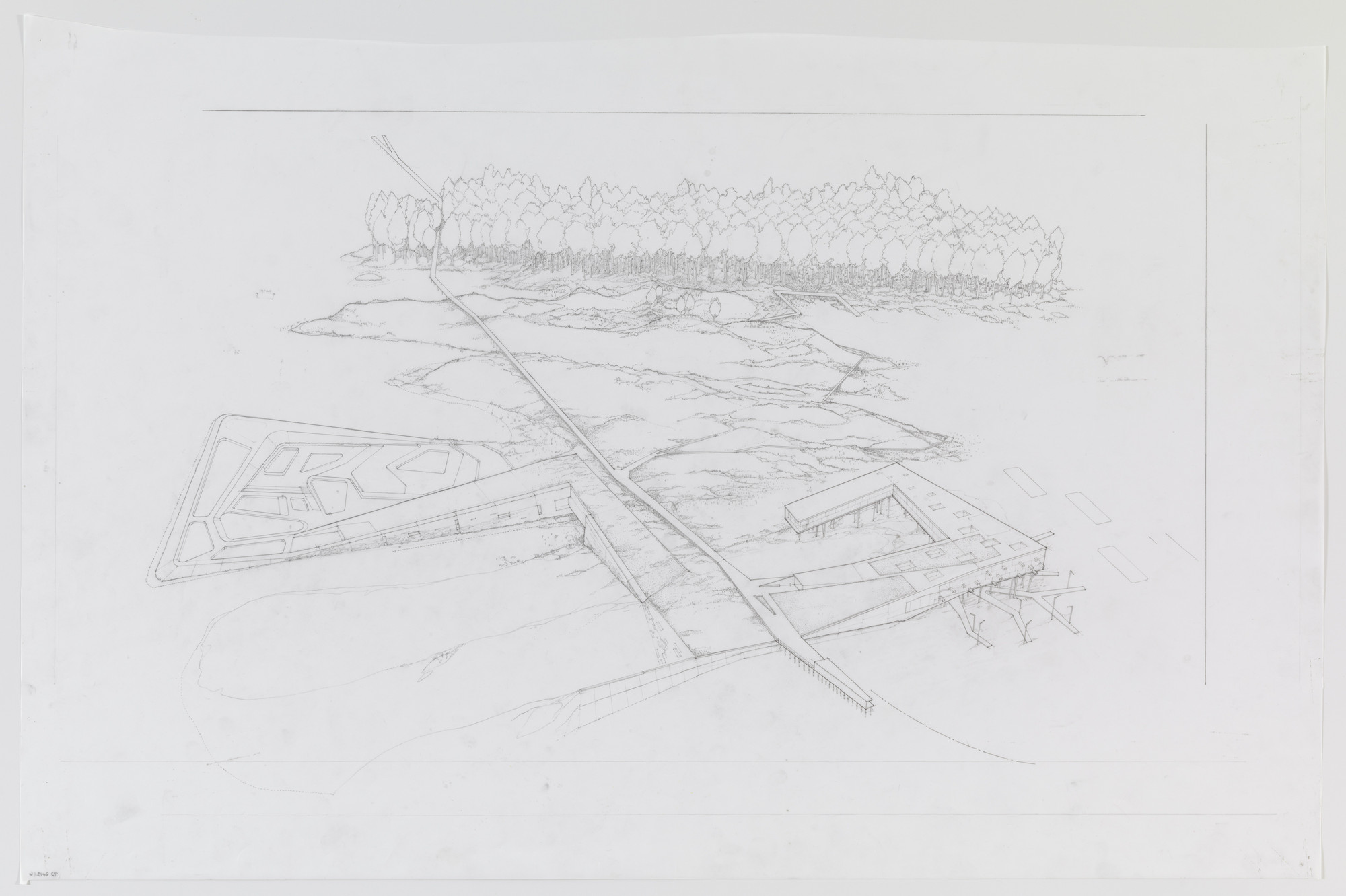 Paul Lewis, Marc Tsurumaki, David J. Lewis. Water Lodge, Water Proving Ground Project, Liberty State Park, NJ (Aerial perspective). 2010