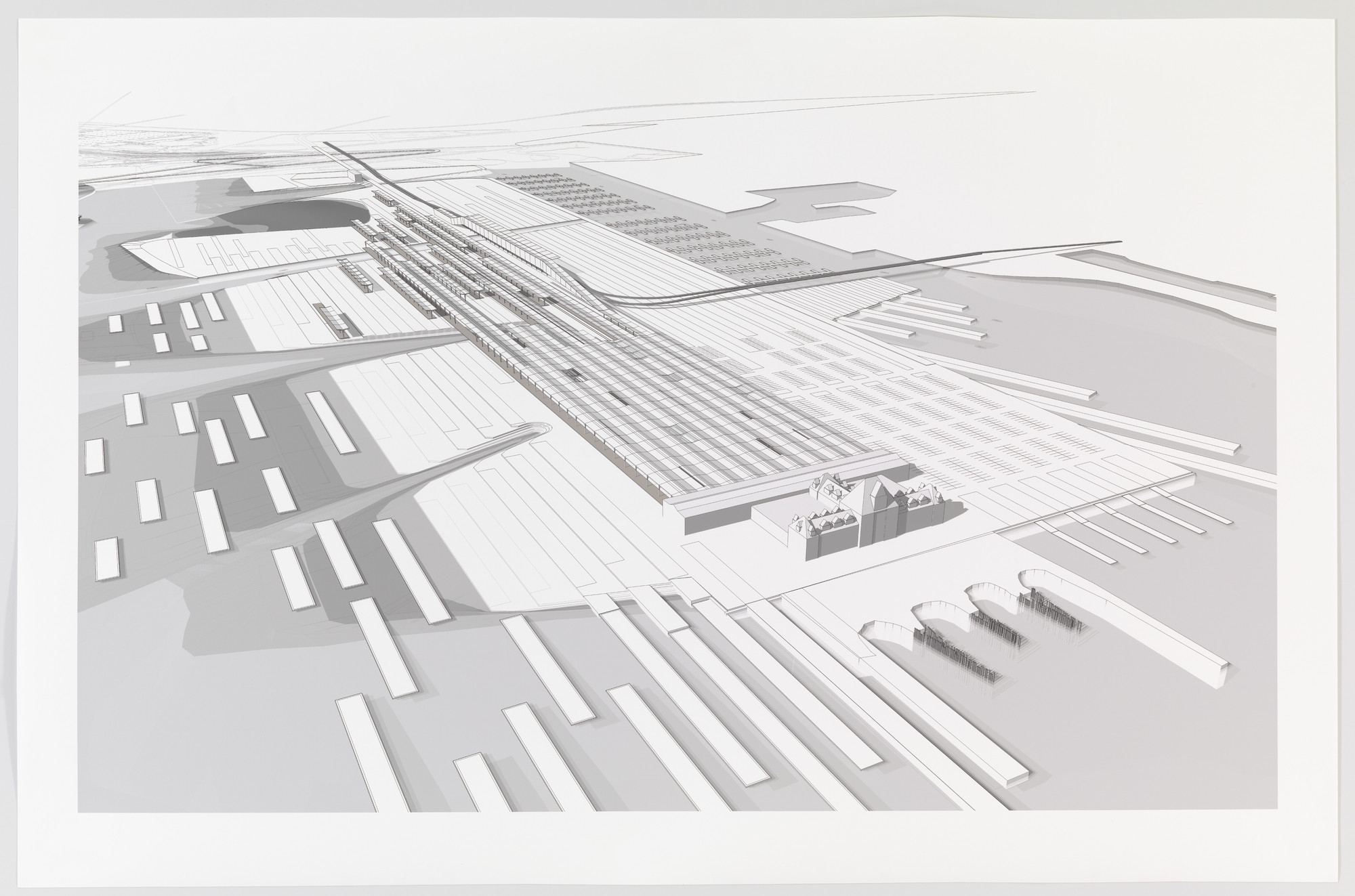 Paul Lewis, Marc Tsurumaki, David J. Lewis. Regional Produce Market, Water Proving Ground Project, Liberty State Park, NJ (Aerial perspective). 2010
