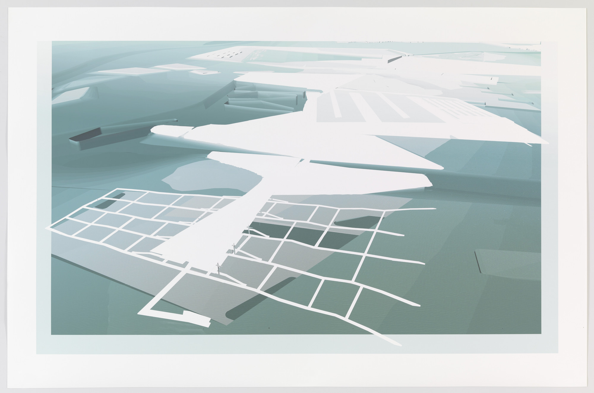 Paul Lewis, Marc Tsurumaki, David J. Lewis. Aquaculture Research and Development Center, Water Proving Ground Project, Liberty State Park, NJ (Aerial perspective). 2010