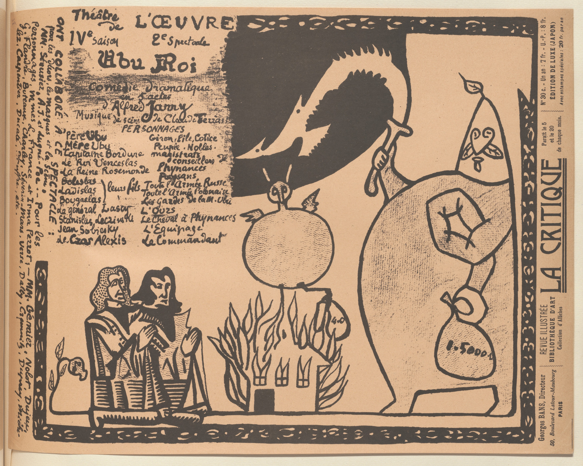 Alfred Jarry. Program for King Ubu (Ubu roi) from The Beraldi Album of Theatre Programs. 1896
