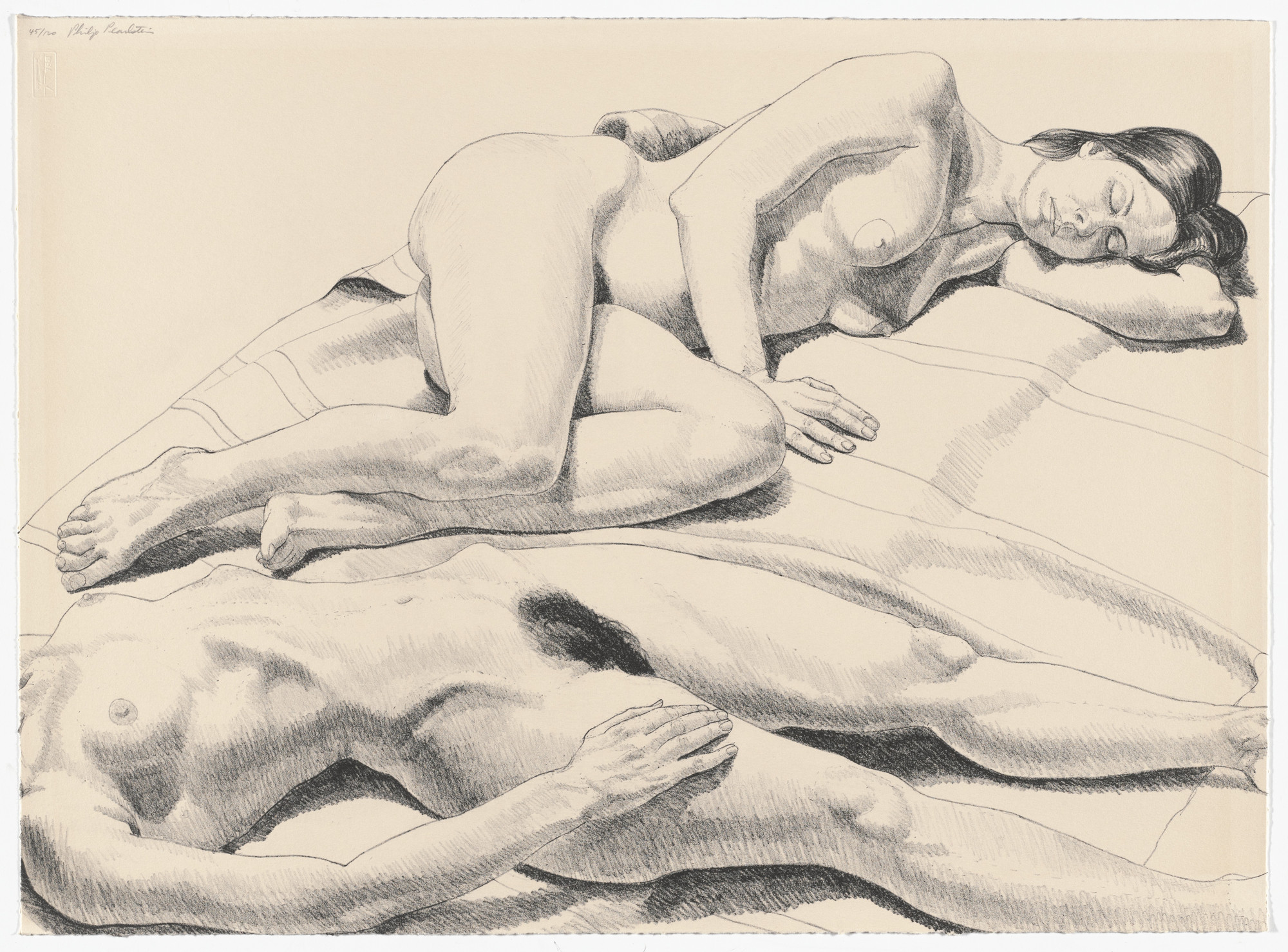 Philip Pearlstein. Two Reclining Nudes on Rug from Ten Lithographs by Ten Artists. 1971 | MoMA
