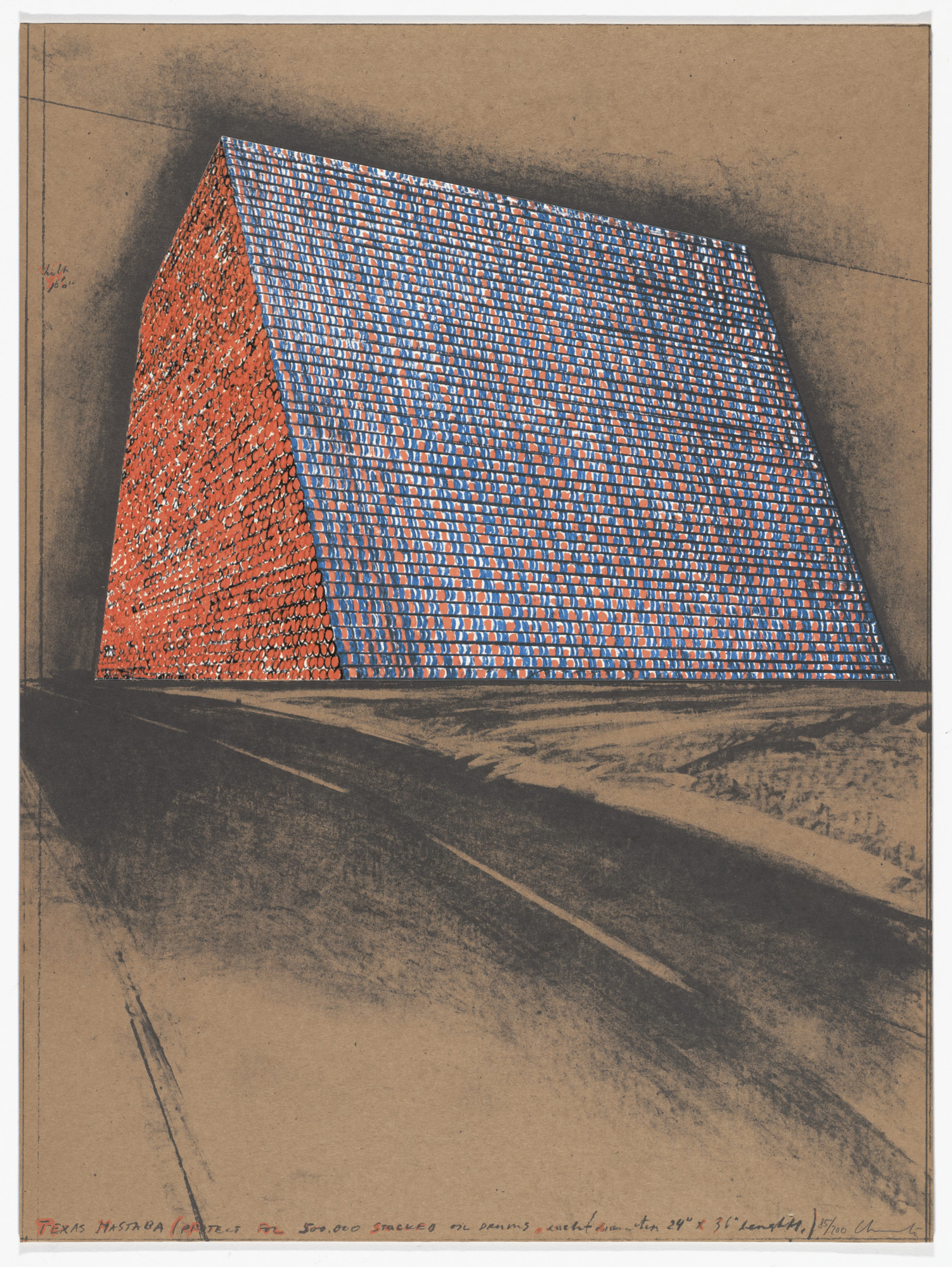 Christo. Texas Mastaba, Project for 500,000 Stacked Oil Drums from America: The Third Century. 1976