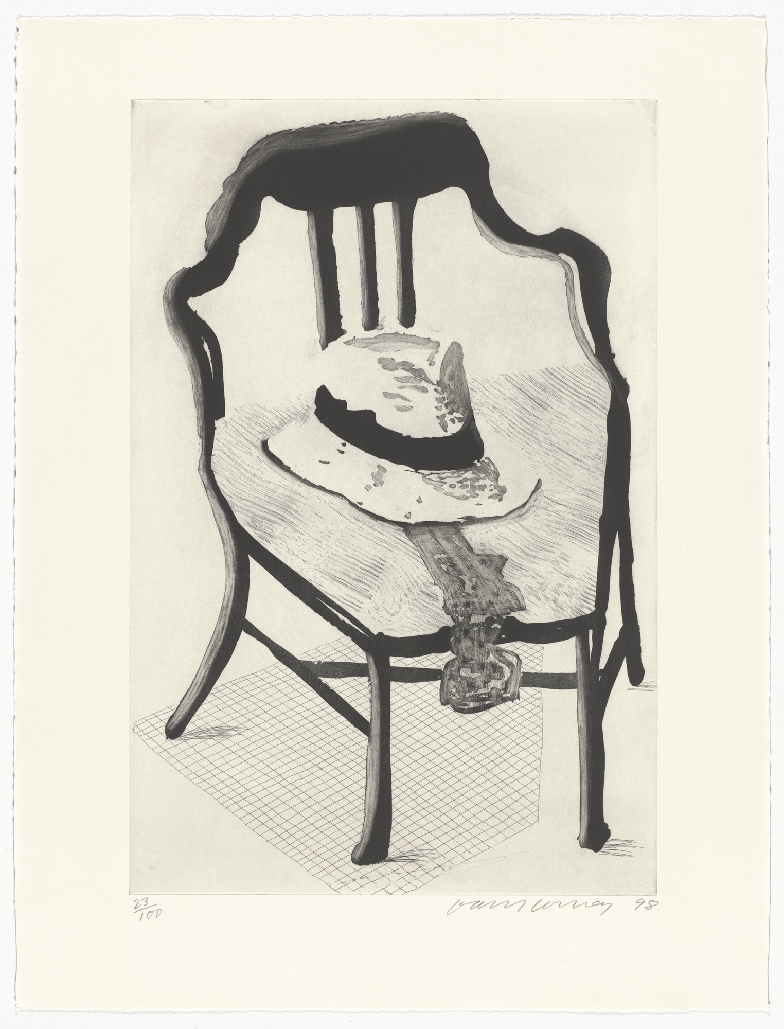 David Hockney. Panama Hat with a Bow Tie on a Chair from The Geldzahler Portfolio. 1998