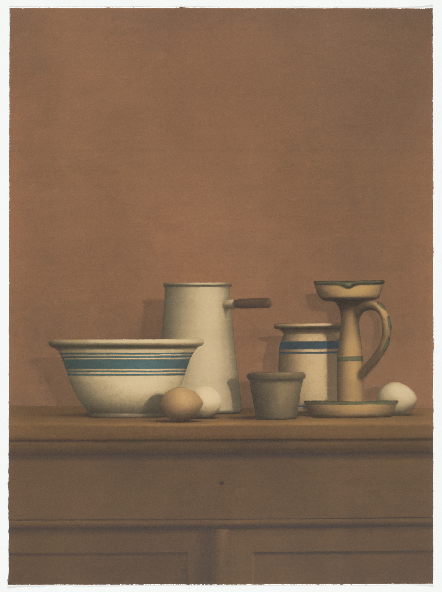 William Bailey. Still Life with Eggs, Candlestick and Bowl from America: The Third Century. 1975