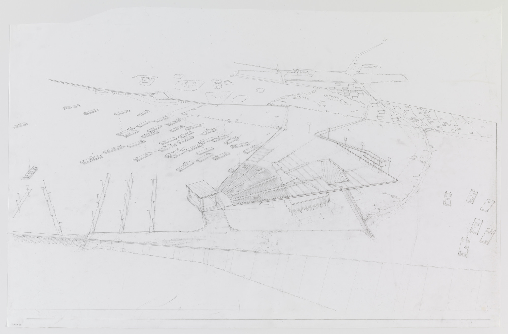 Paul Lewis, Marc Tsurumaki, David J. Lewis. Amphitheater, Water Proving Ground Project, Liberty State Park, NJ (Aerial perspective). 2010