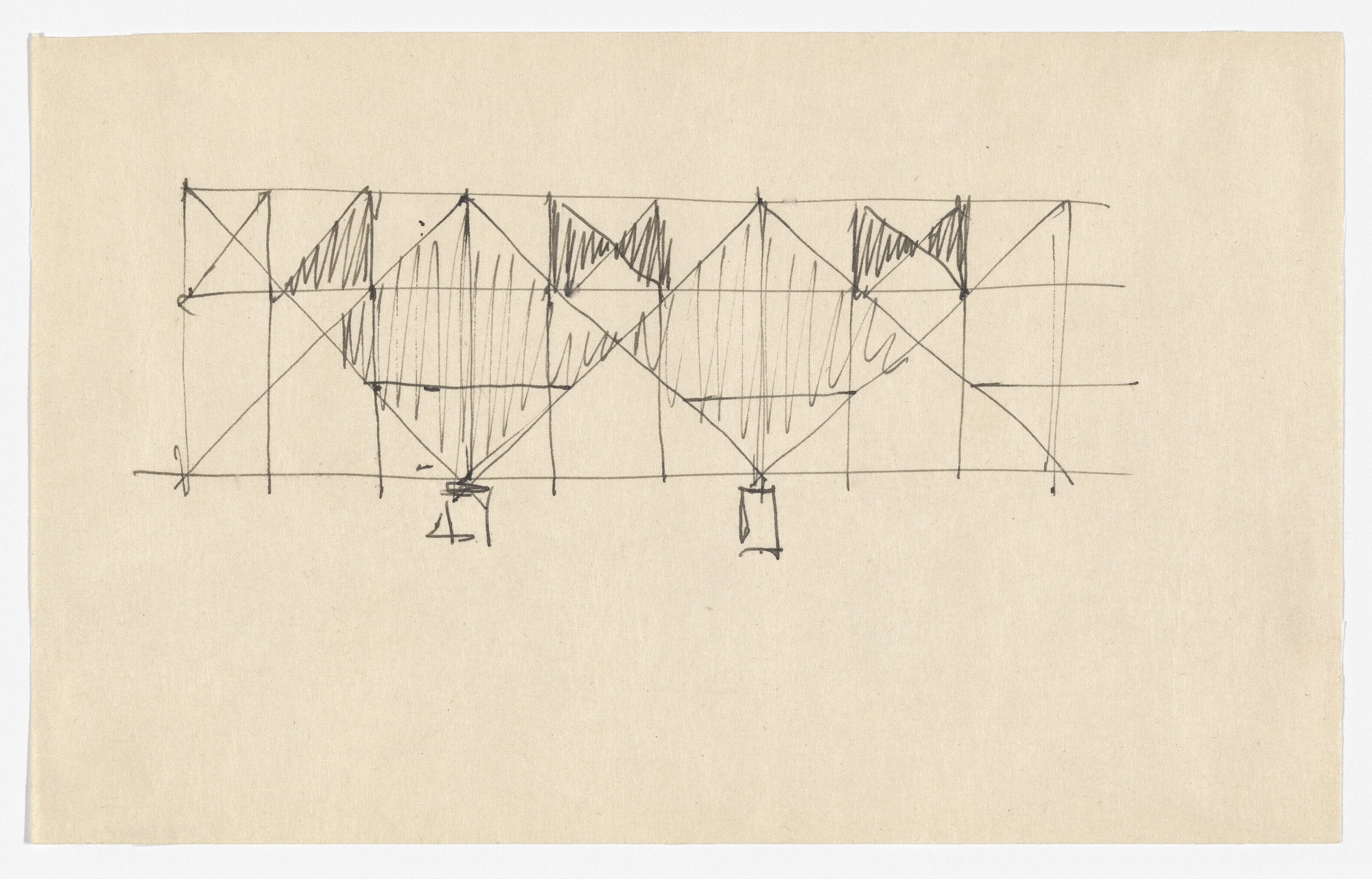 Ludwig Mies van der Rohe. Convention Hall Project, Chicago, IL (Structural steel system. Elevations). 1954
