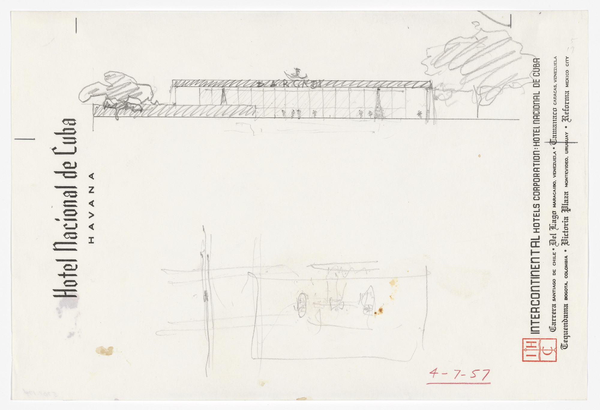 Ludwig Mies van der Rohe. New National Gallery, Berlin, Germany (Longitudinal section). 1967