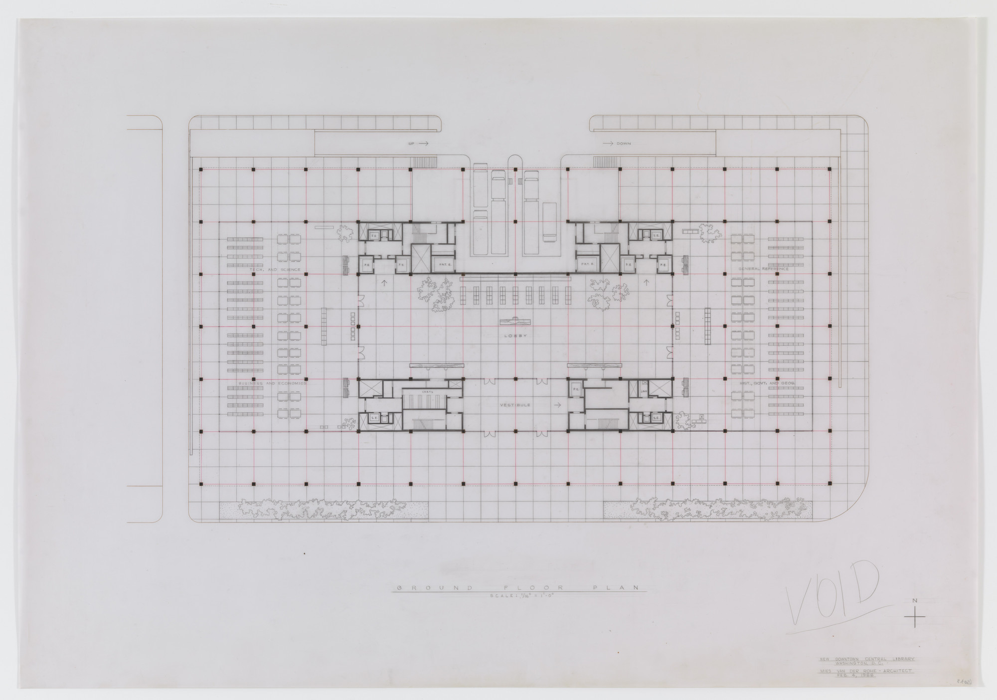 Ludwig Mies van der Rohe. Martin Luther King Jr. Memorial Library, Washington, D.C., First floor plan. 1965-1968