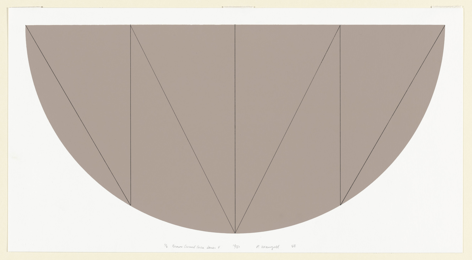 Robert Mangold. 1/2 Brown Curved Area Series V. 1968