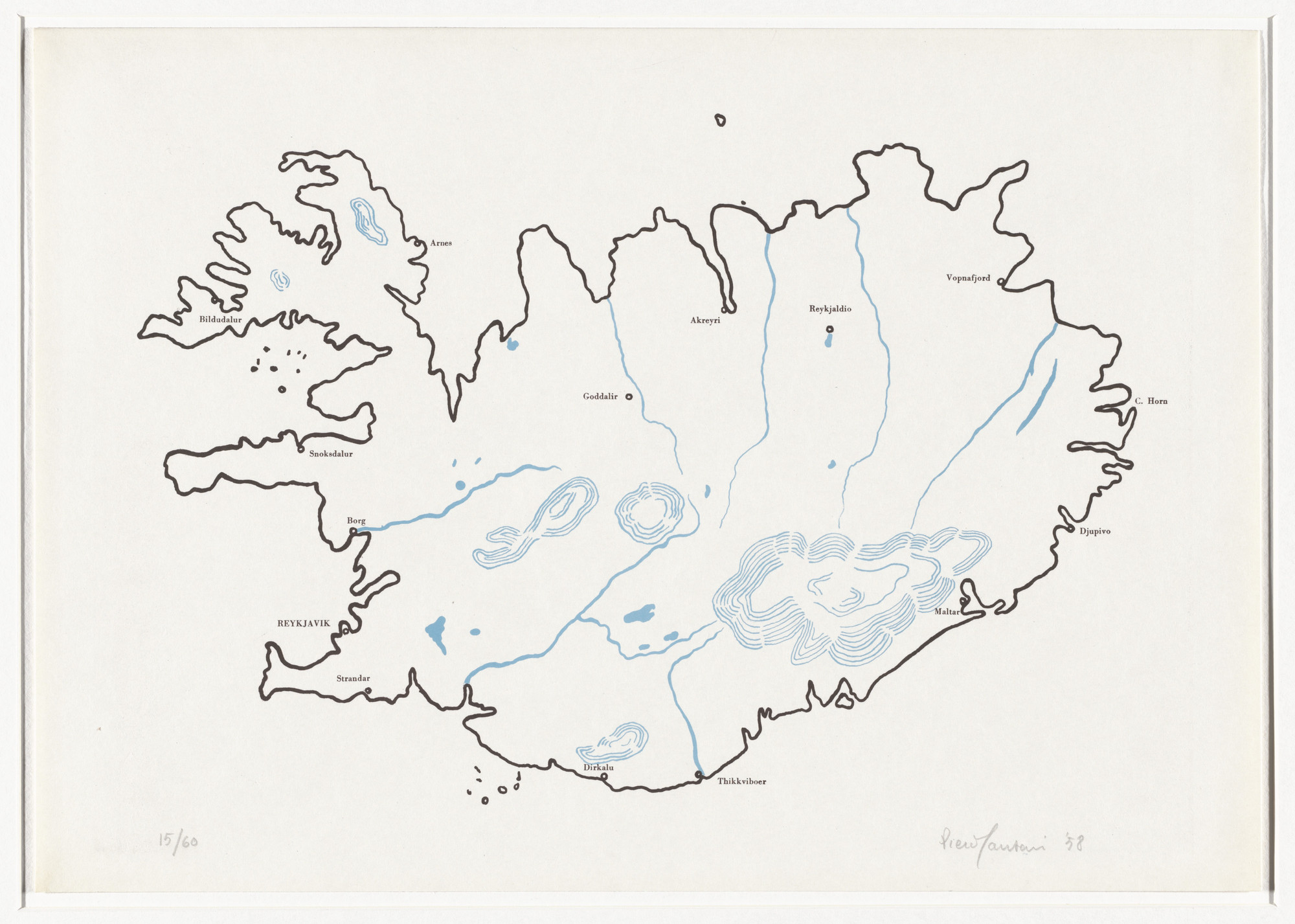 Piero Manzoni. Iceland (Islanda) from 8 Works of Verification (8 Tavole di accertamento). 1958, published 1962