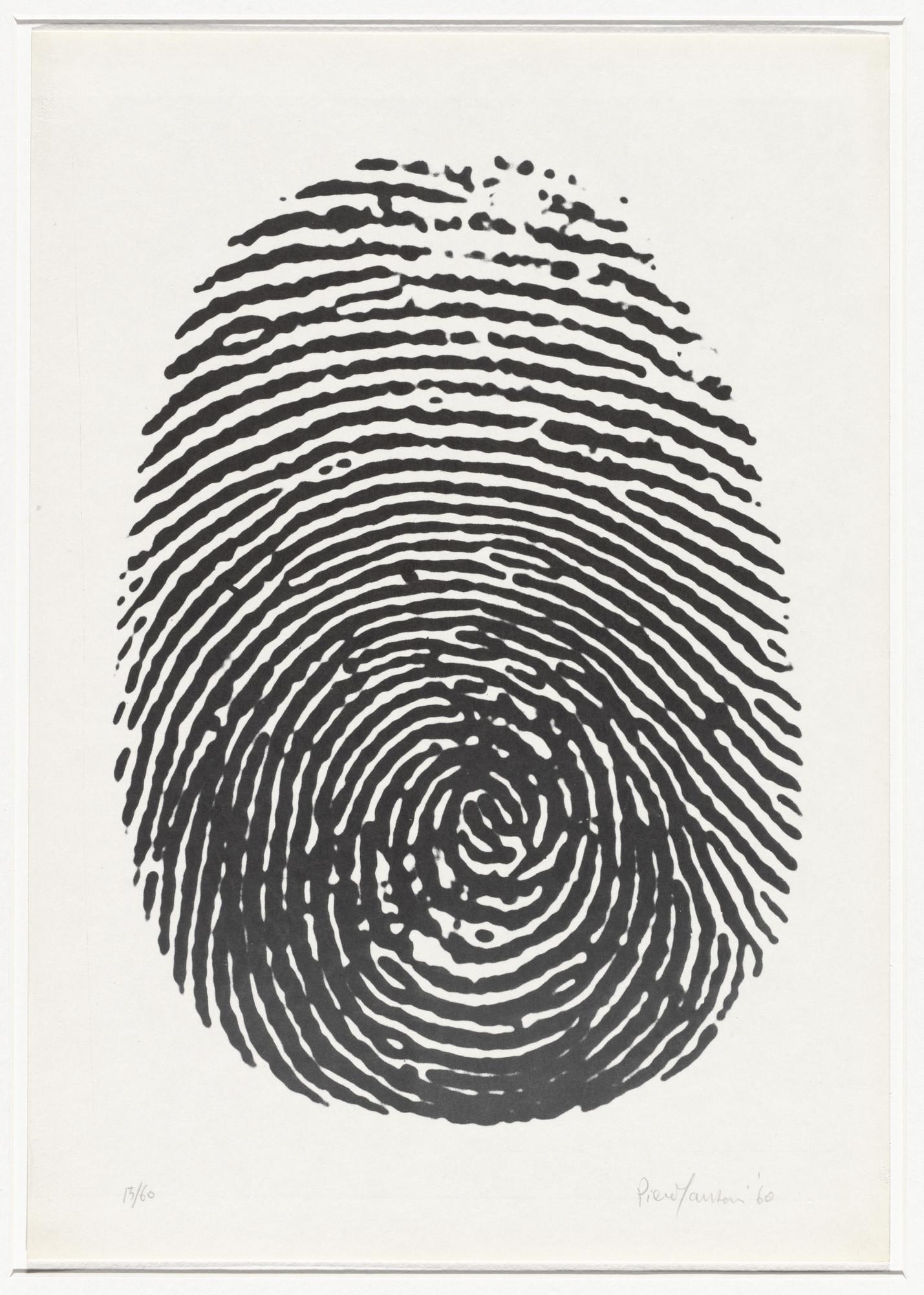 piero manzoni right thumbprint impronta pollice destro from 8