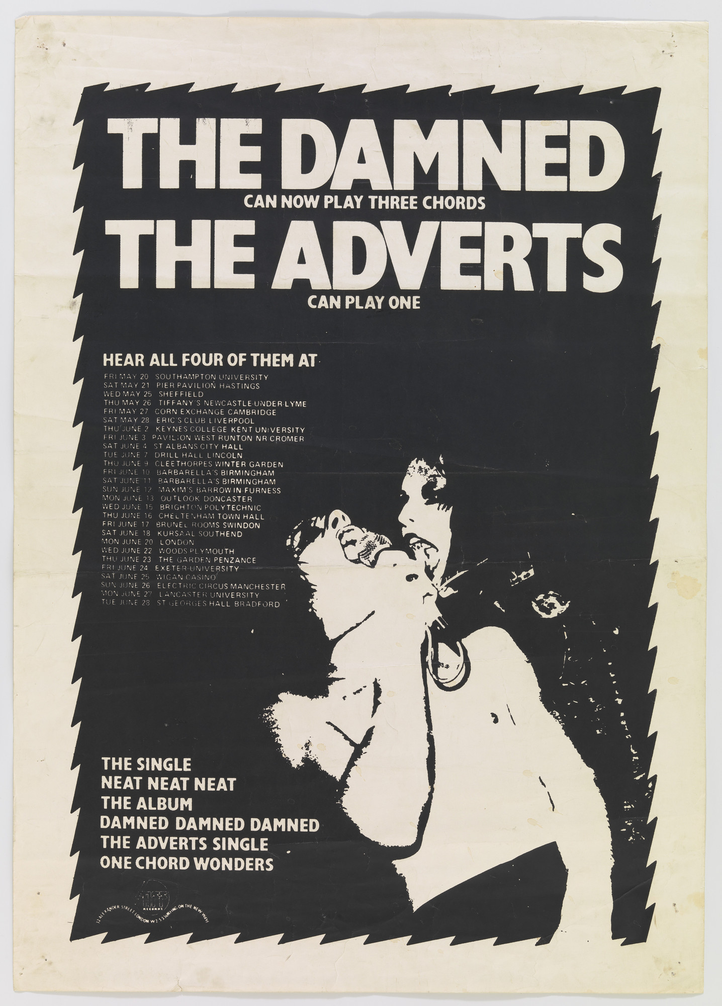 Barney Bubbles (Colin Fulcher). The Damned with the Adverts. 1977