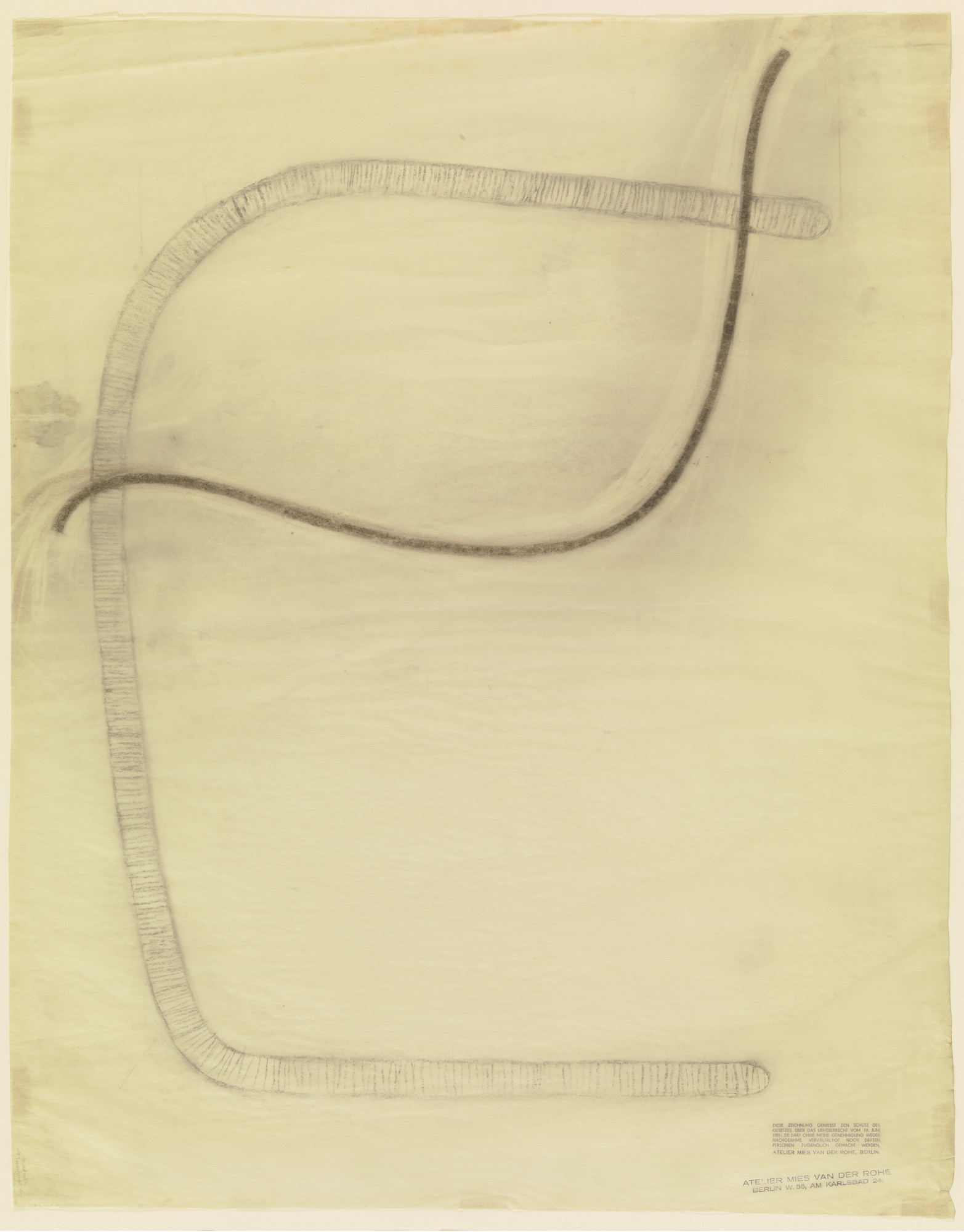 Ludwig Mies van der Rohe. Chair (similar to Brno Chair) (Elevation sketch). c.1931