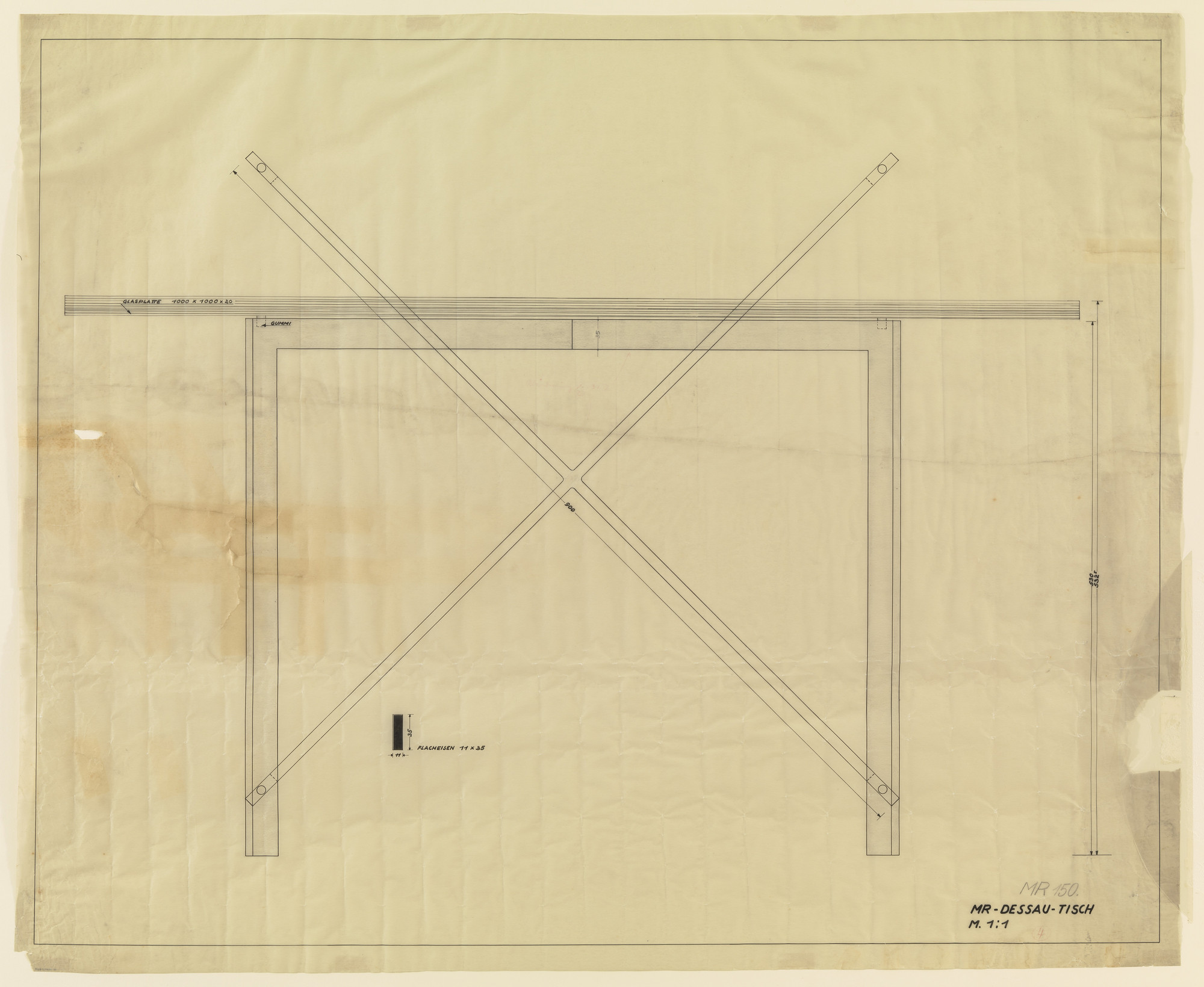 Ludwig Mies van der Rohe. Glass table (Plan and elevation). 1931-1932