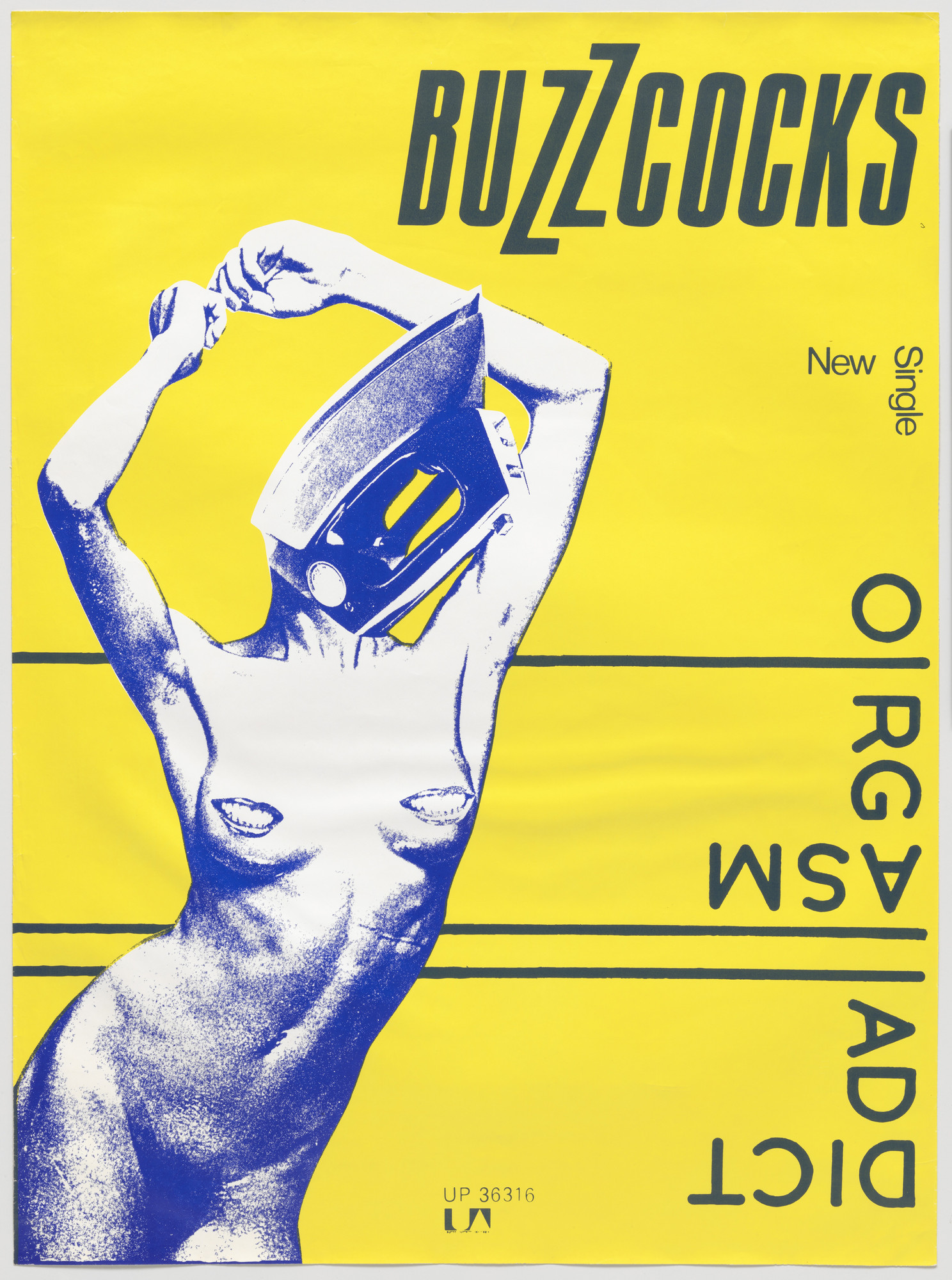 Linder [Linda Sterling], Malcolm Garrett. Buzzcocks, Orgasm Addict (Poster for single distributed by United Artist Records, London). 1977